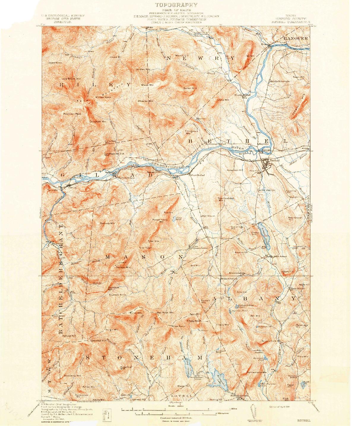 USGS 1:62500-SCALE QUADRANGLE FOR BETHEL, ME 1914