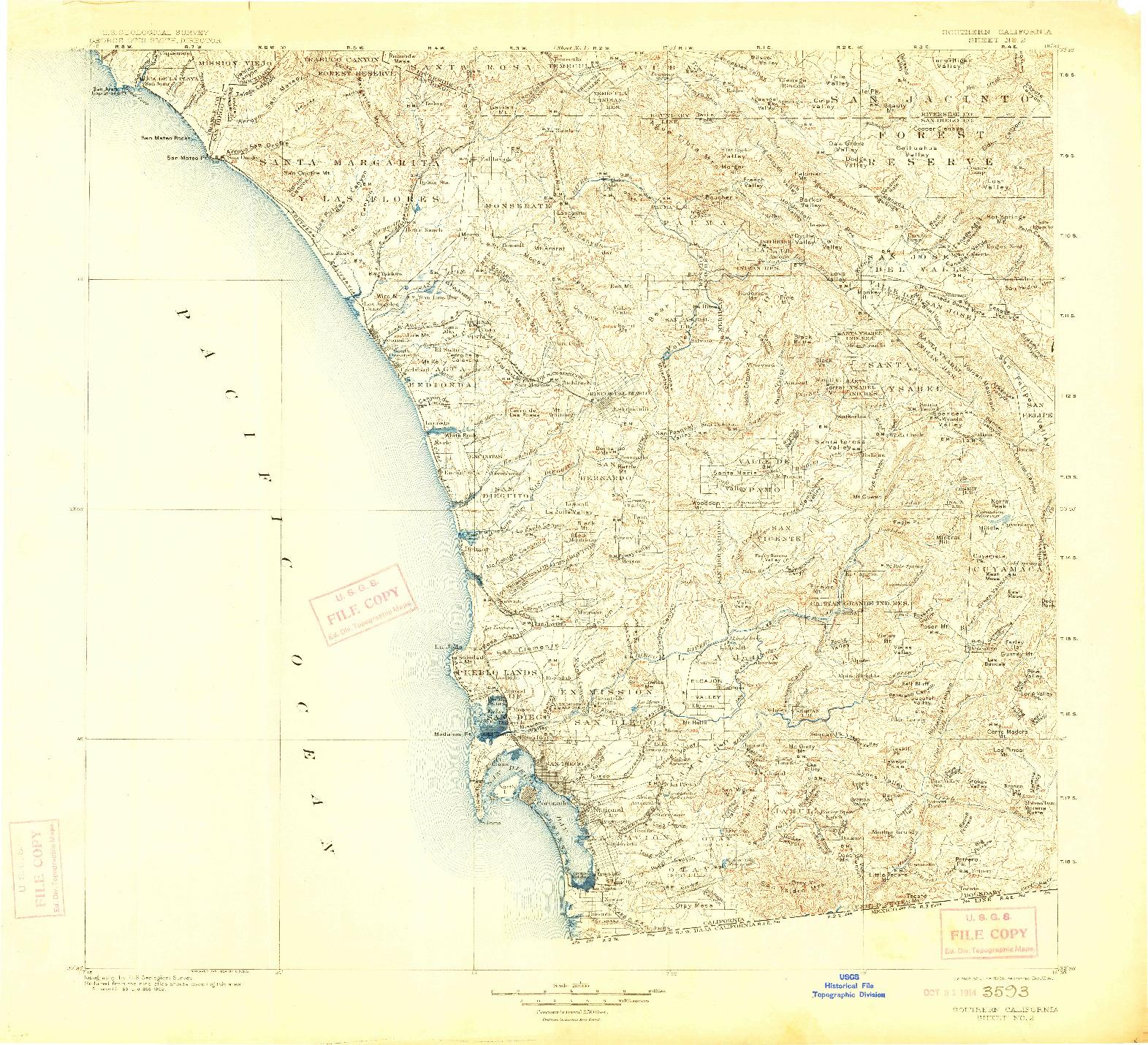 USGS 1:250000-SCALE QUADRANGLE FOR SOUTHERN CALIFORNIA SHEET NO. 2, CA 1904