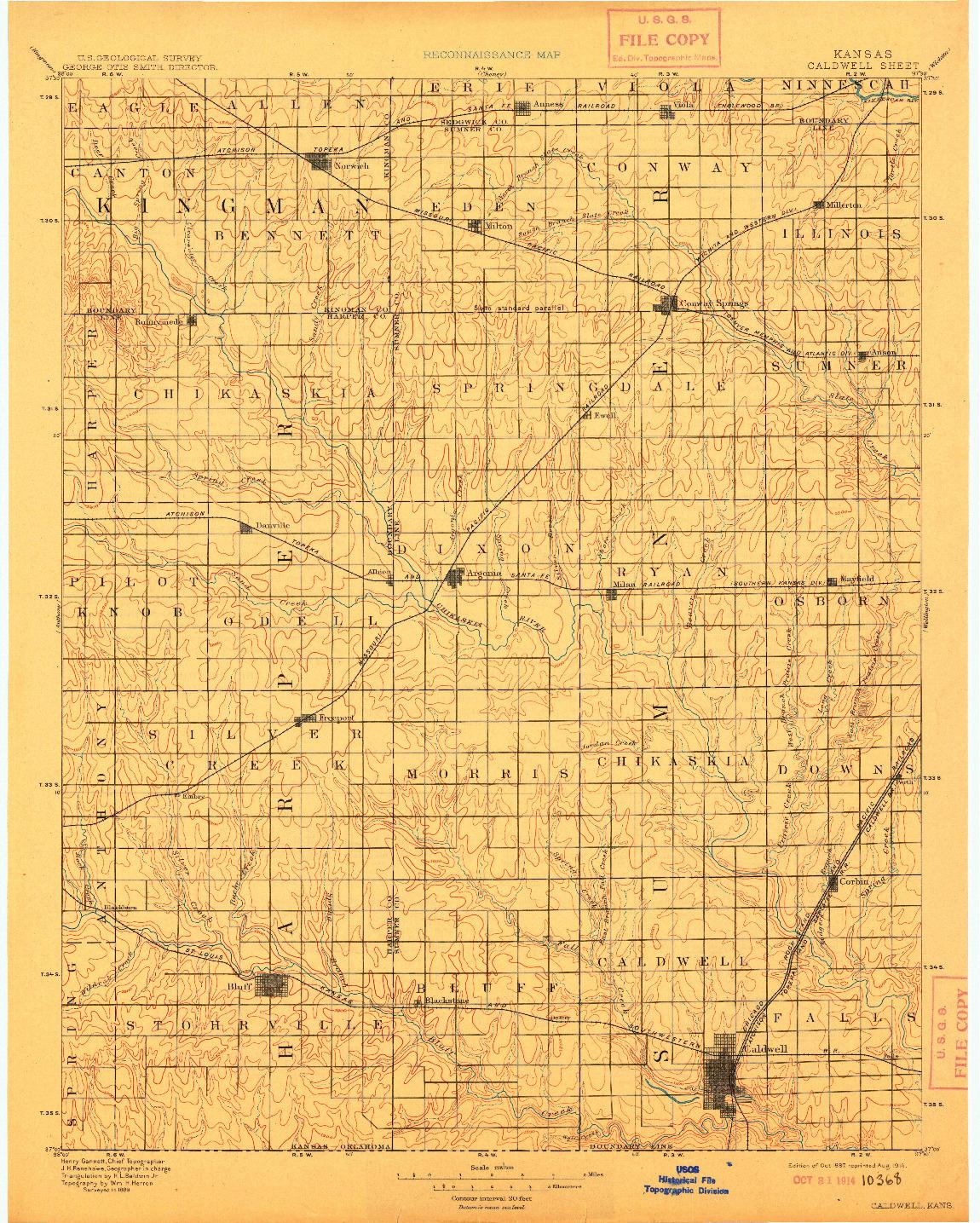 USGS 1:125000-SCALE QUADRANGLE FOR CALDWELL, KS 1897