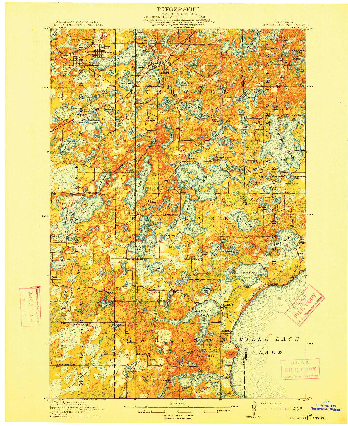 USGS 1:62500-SCALE QUADRANGLE FOR DEERWOOD, MN 1914
