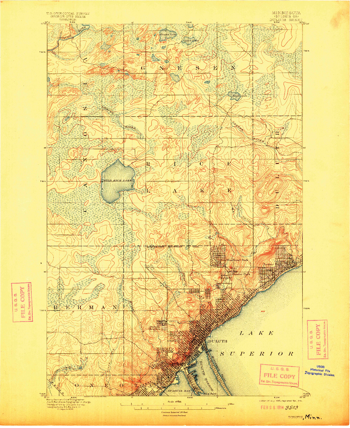 USGS 1:62500-SCALE QUADRANGLE FOR DULUTH, MN 1895