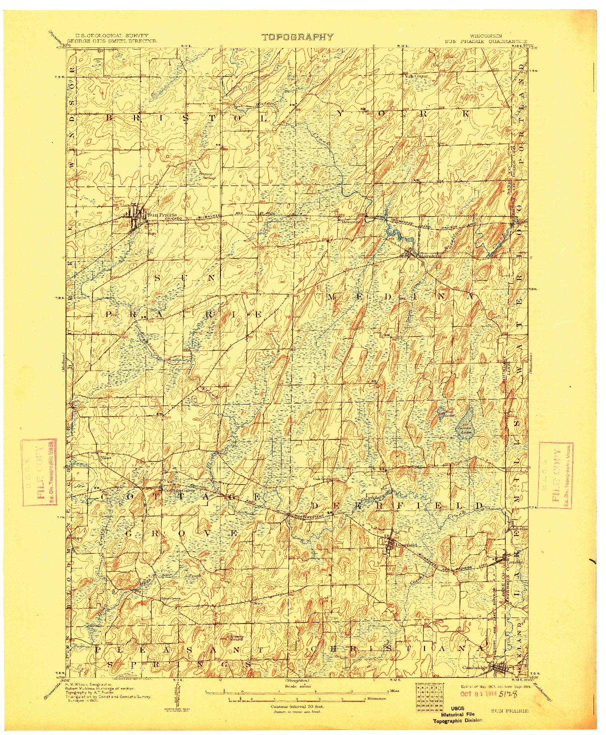 USGS 1:62500-SCALE QUADRANGLE FOR SUN PRAIRIE, WI 1907