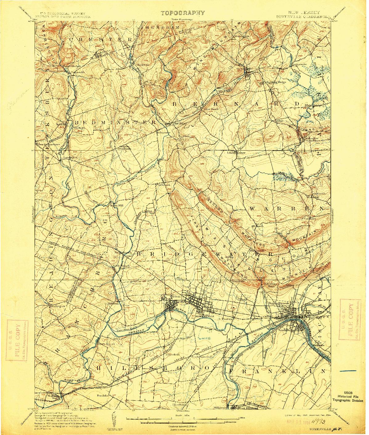 USGS 1:62500-SCALE QUADRANGLE FOR SOMERVILLE, NJ 1905