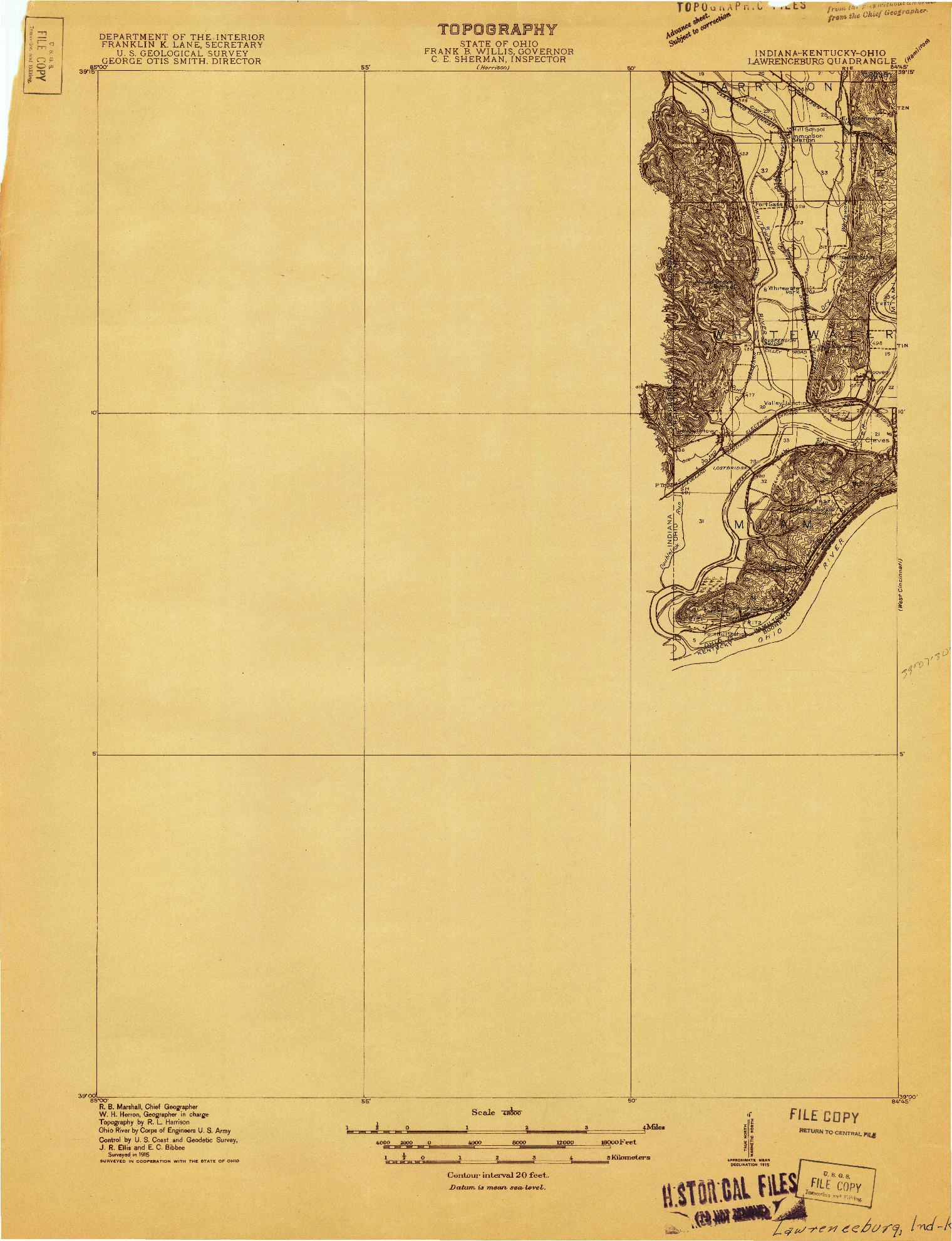 USGS 1:48000-SCALE QUADRANGLE FOR LAWRENCEBURG, IN 1915