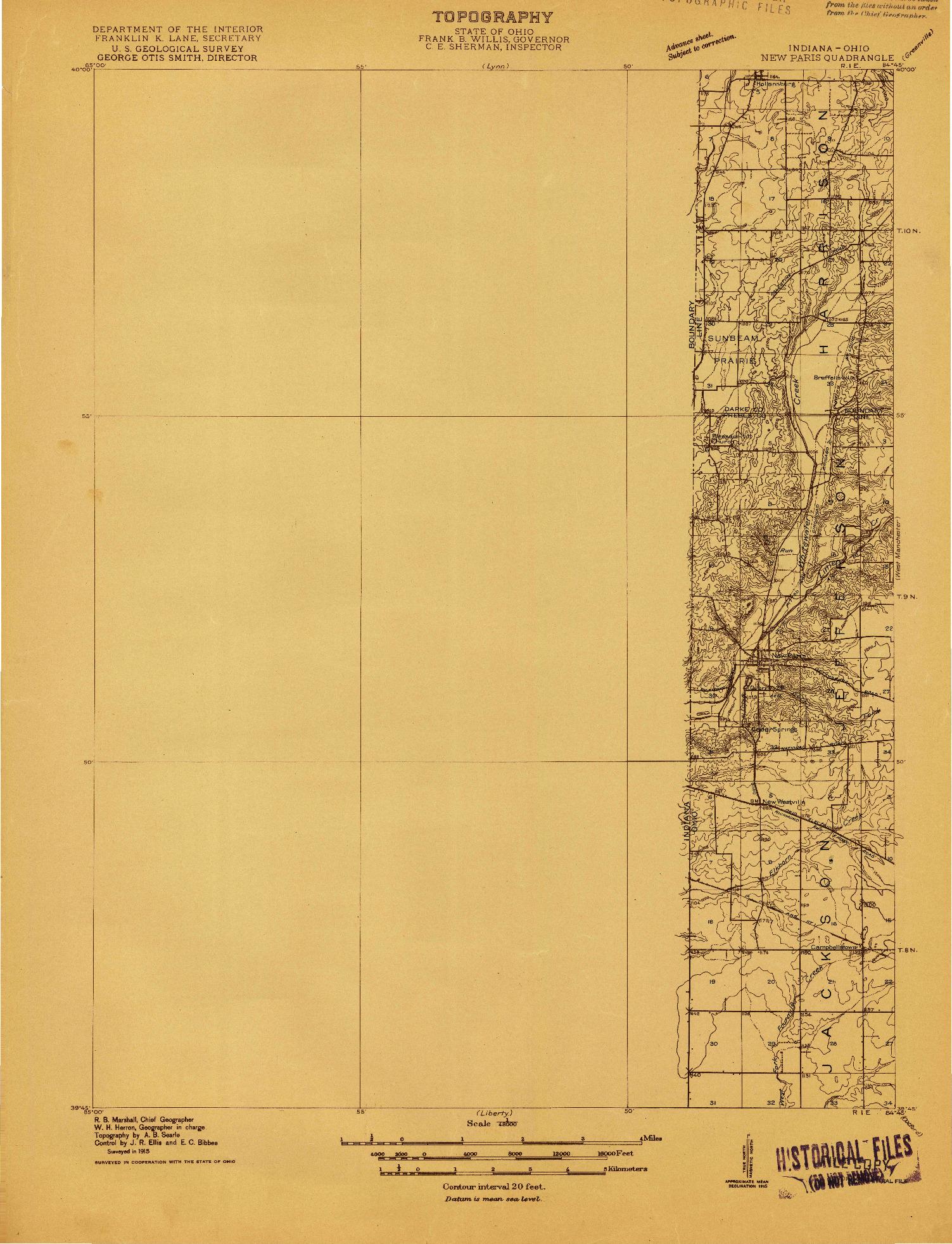 USGS 1:48000-SCALE QUADRANGLE FOR NEW PARIS, IN 1915