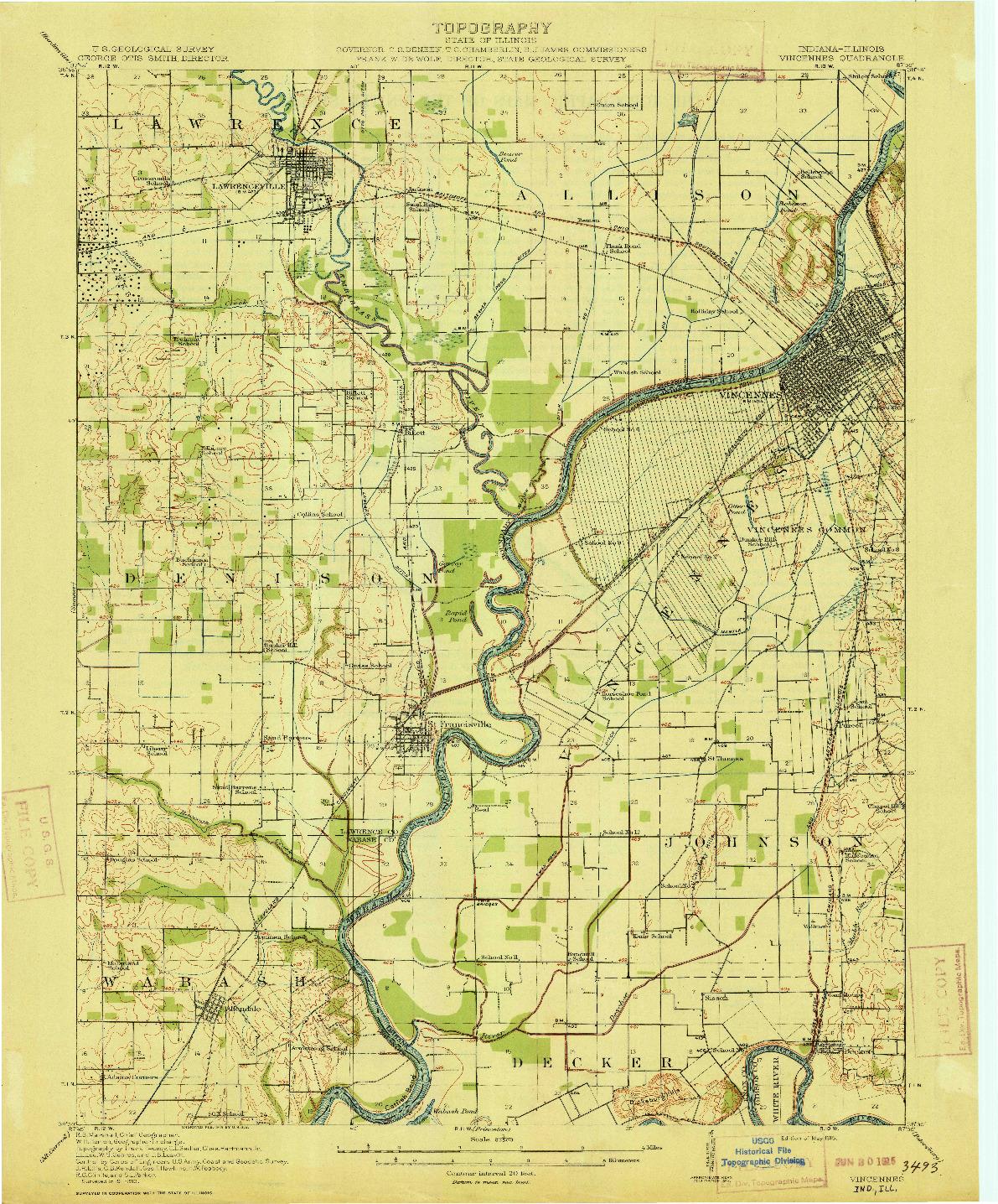 USGS 1:62500-SCALE QUADRANGLE FOR VINCENNES, IN 1915