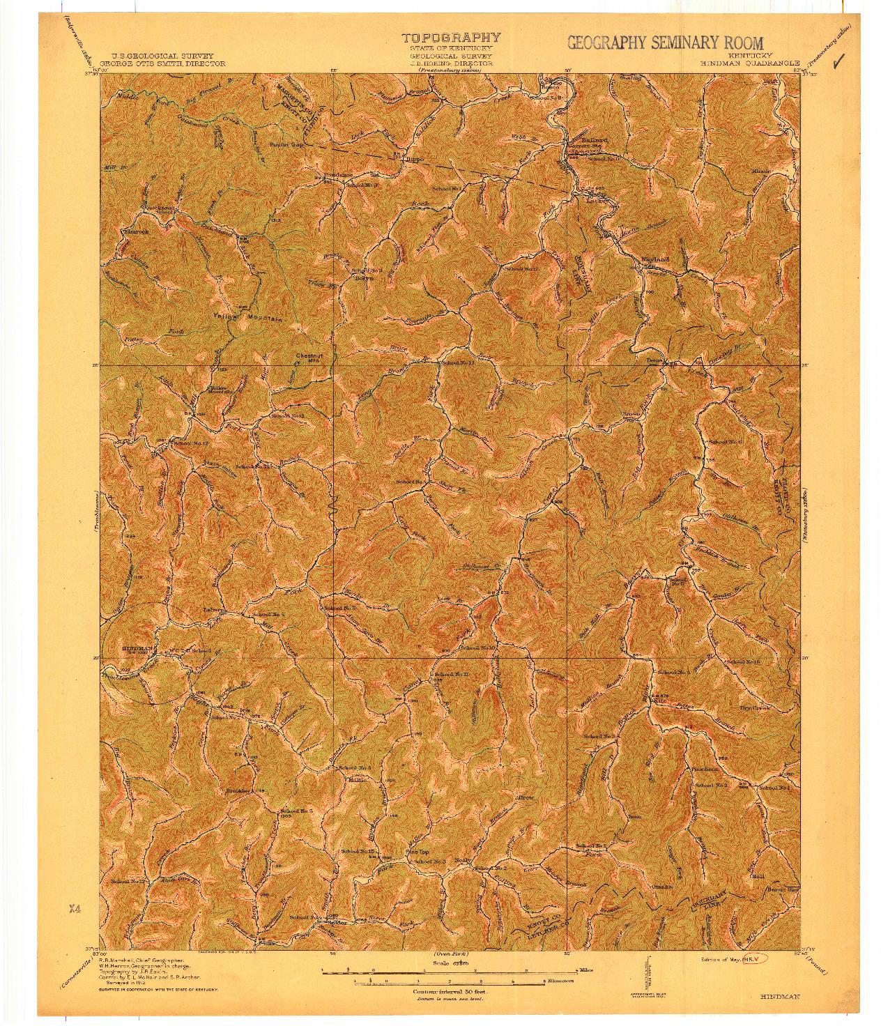 USGS 1:62500-SCALE QUADRANGLE FOR HINDMAN, KY 1915
