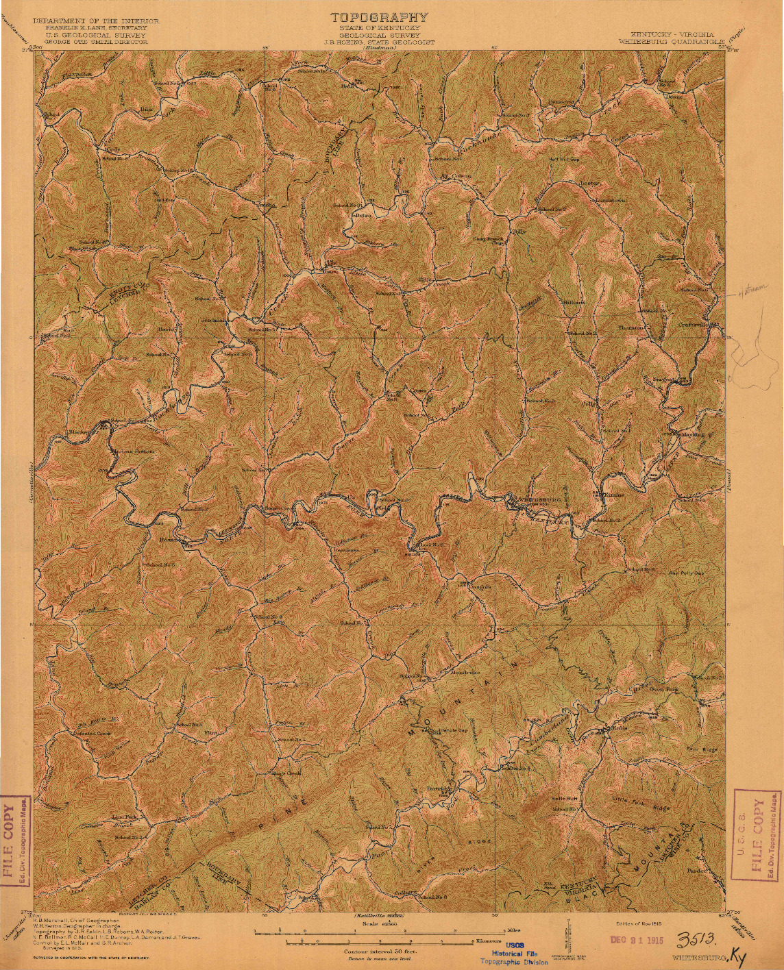 USGS 1:62500-SCALE QUADRANGLE FOR WHITESBURG, KY 1915