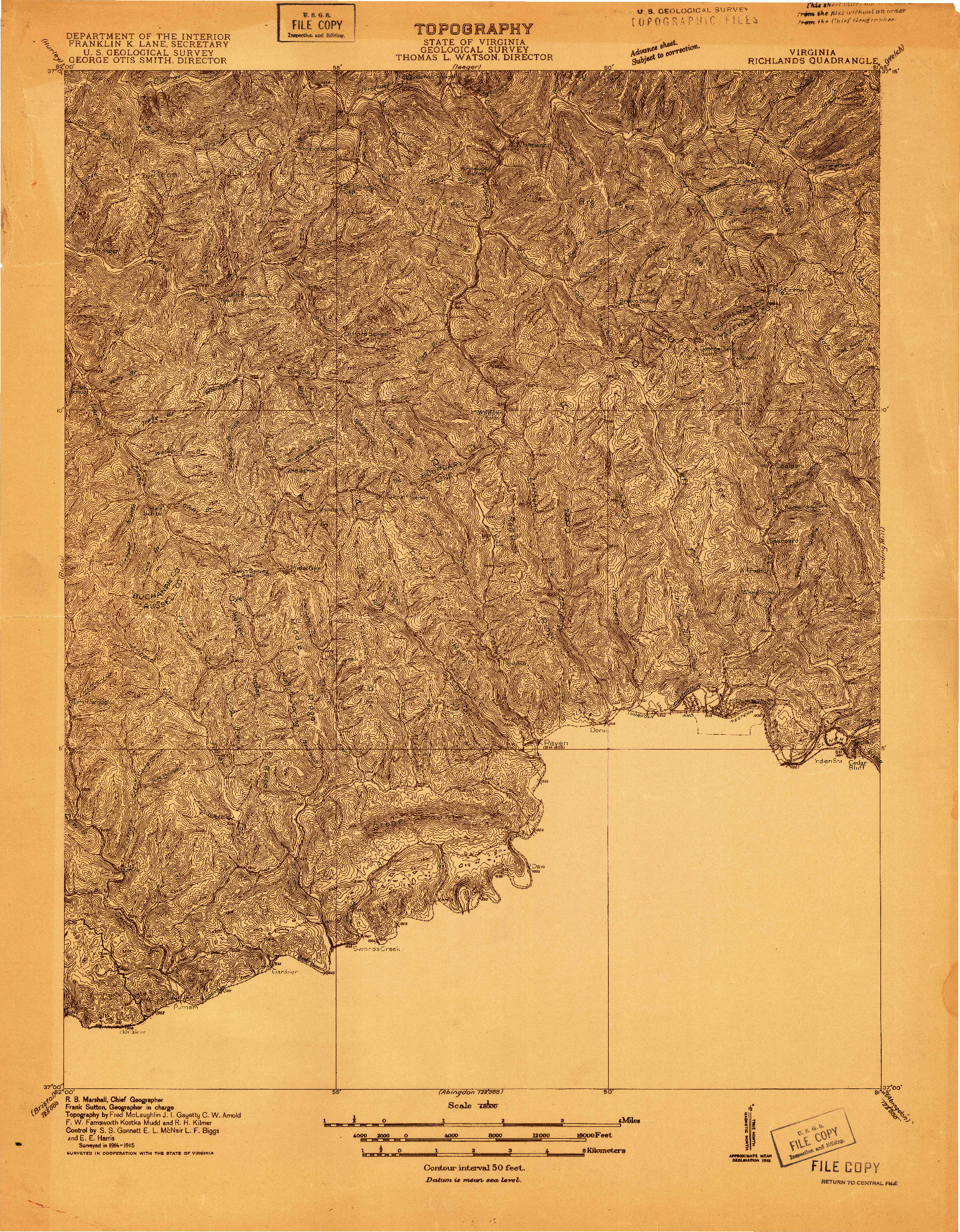 USGS 1:48000-SCALE QUADRANGLE FOR RICHLANDS, VA 1915