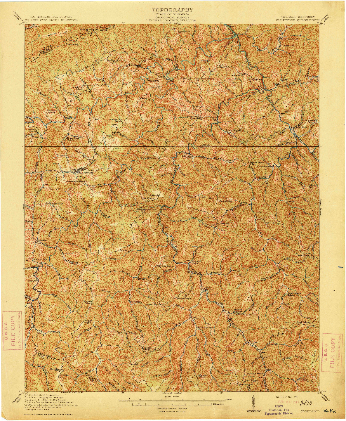 USGS 1:62500-SCALE QUADRANGLE FOR CLINTWOOD, VA 1915