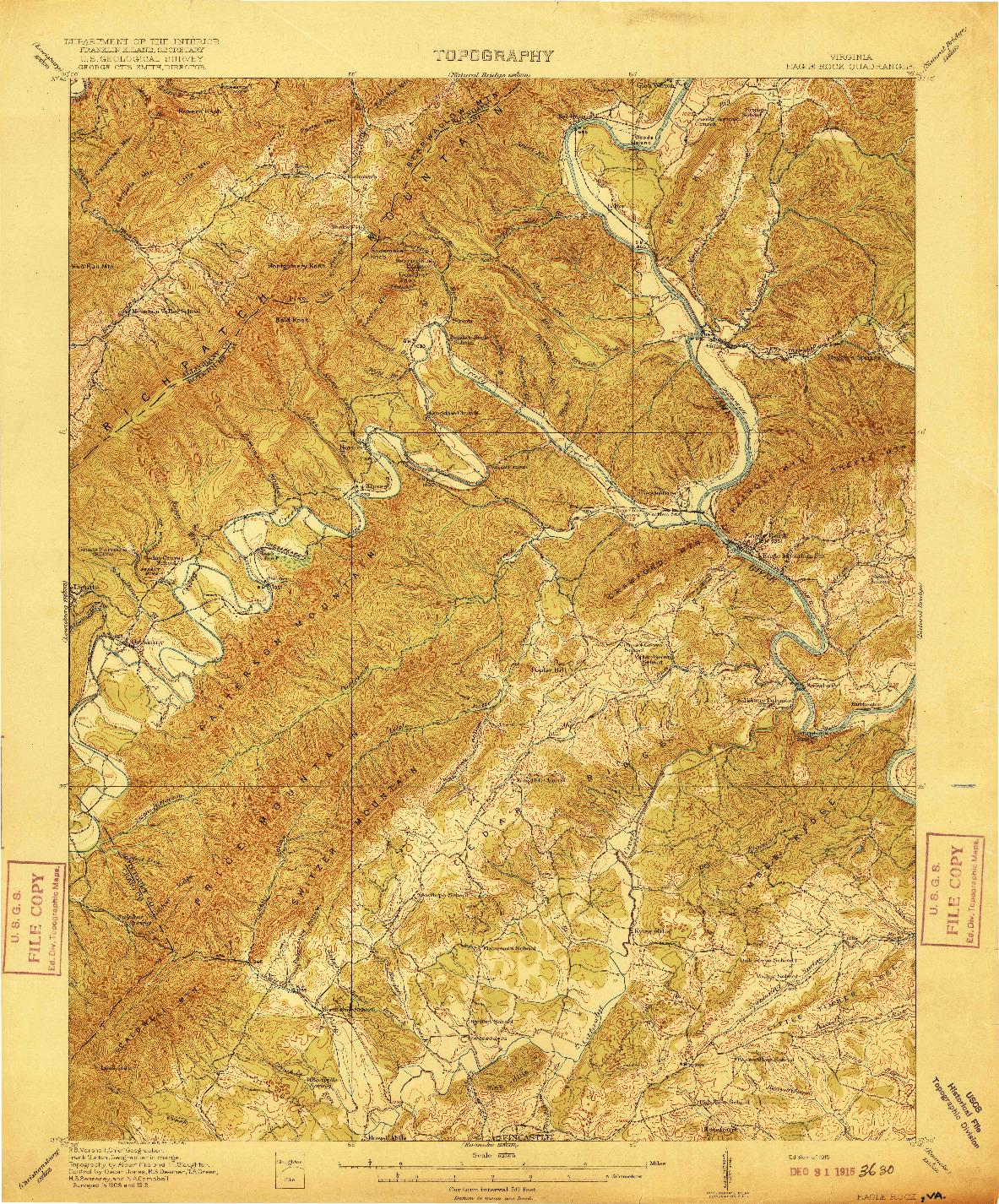 USGS 1:62500-SCALE QUADRANGLE FOR EAGLE ROCK, VA 1915