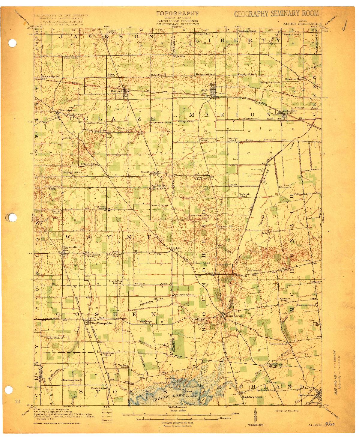 USGS 1:62500-SCALE QUADRANGLE FOR ALGER, OH 1915