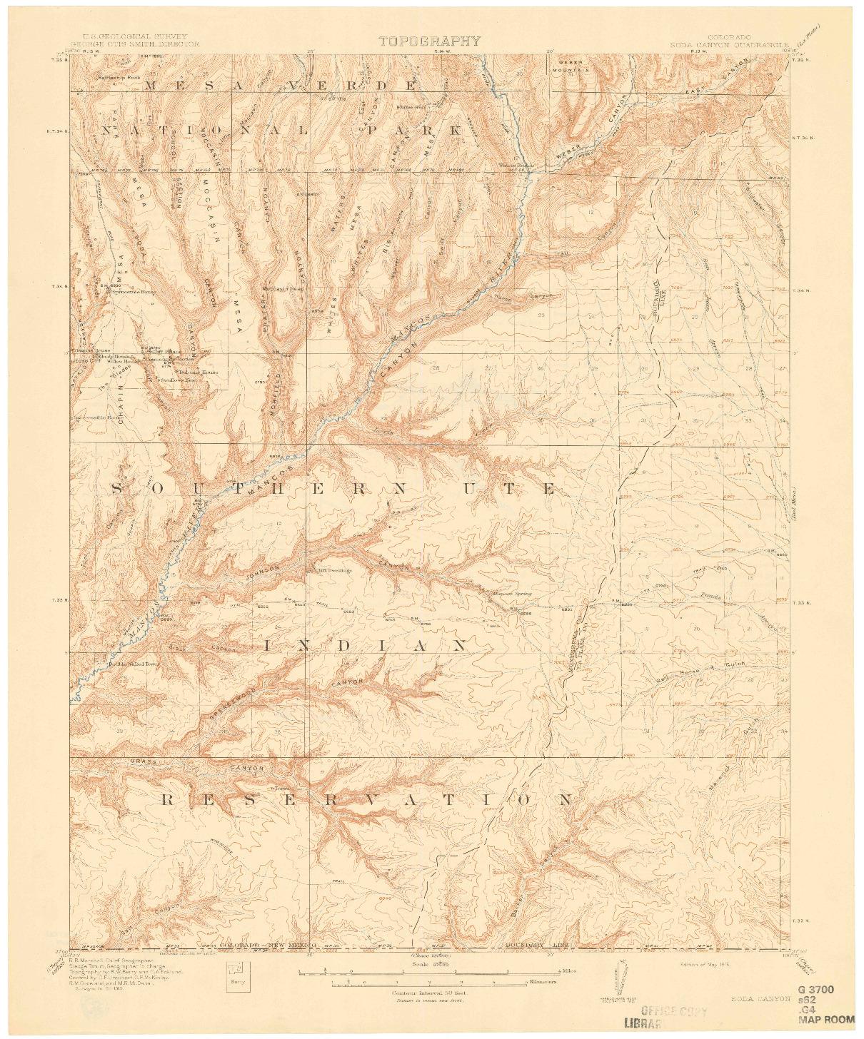 USGS 1:62500-SCALE QUADRANGLE FOR SODA CANYON, CO 1915
