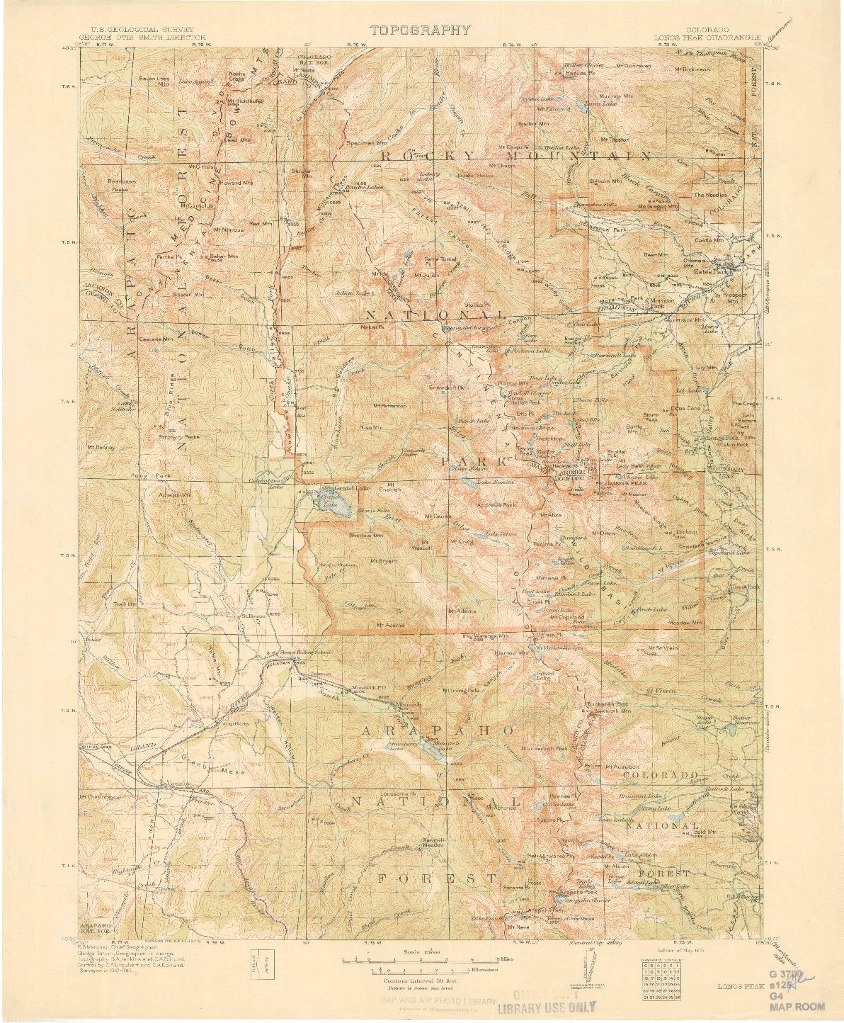 USGS 1:125000-SCALE QUADRANGLE FOR LONGS PEAK, CO 1915