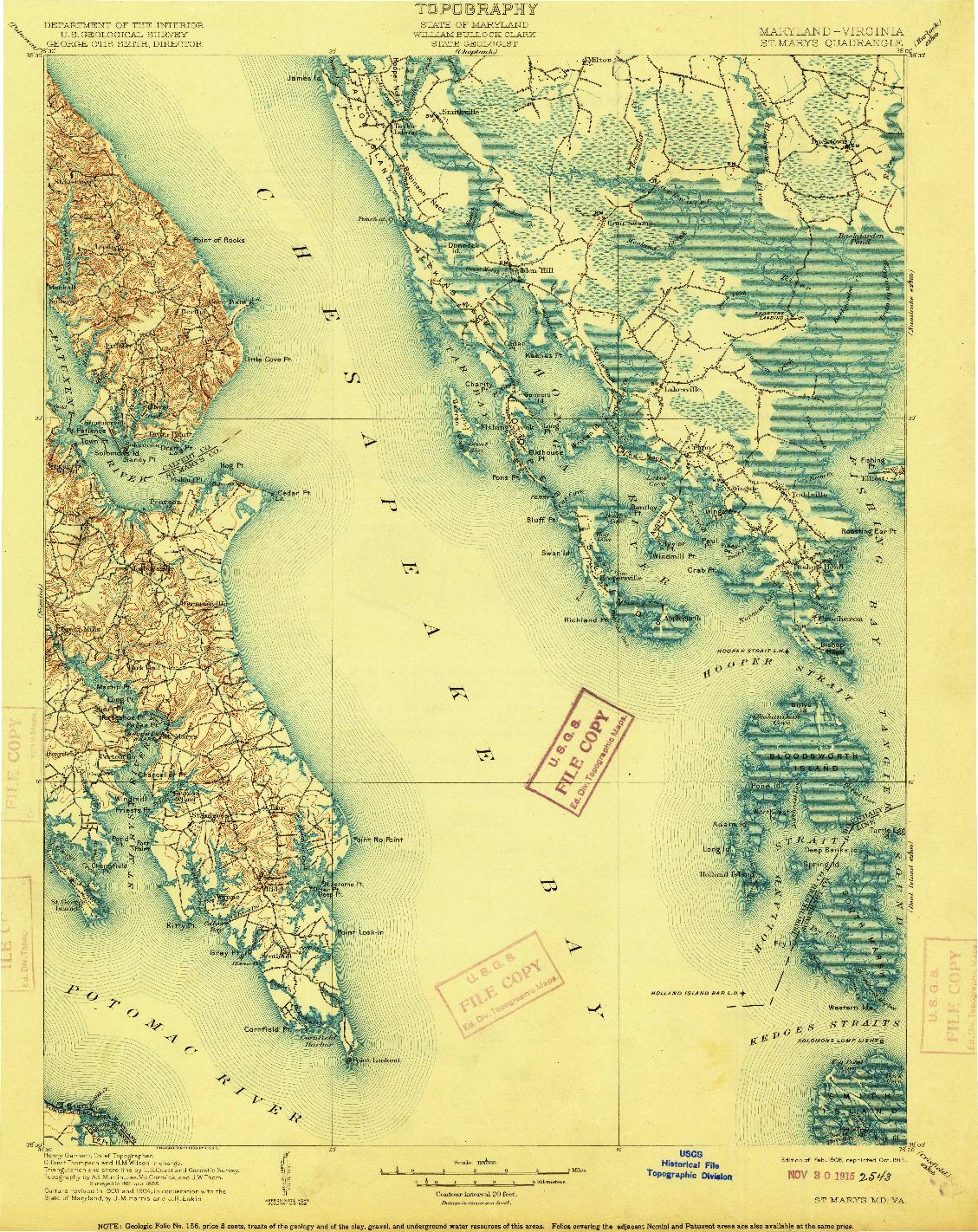 USGS 1:125000-SCALE QUADRANGLE FOR ST. MARYS, MD 1906