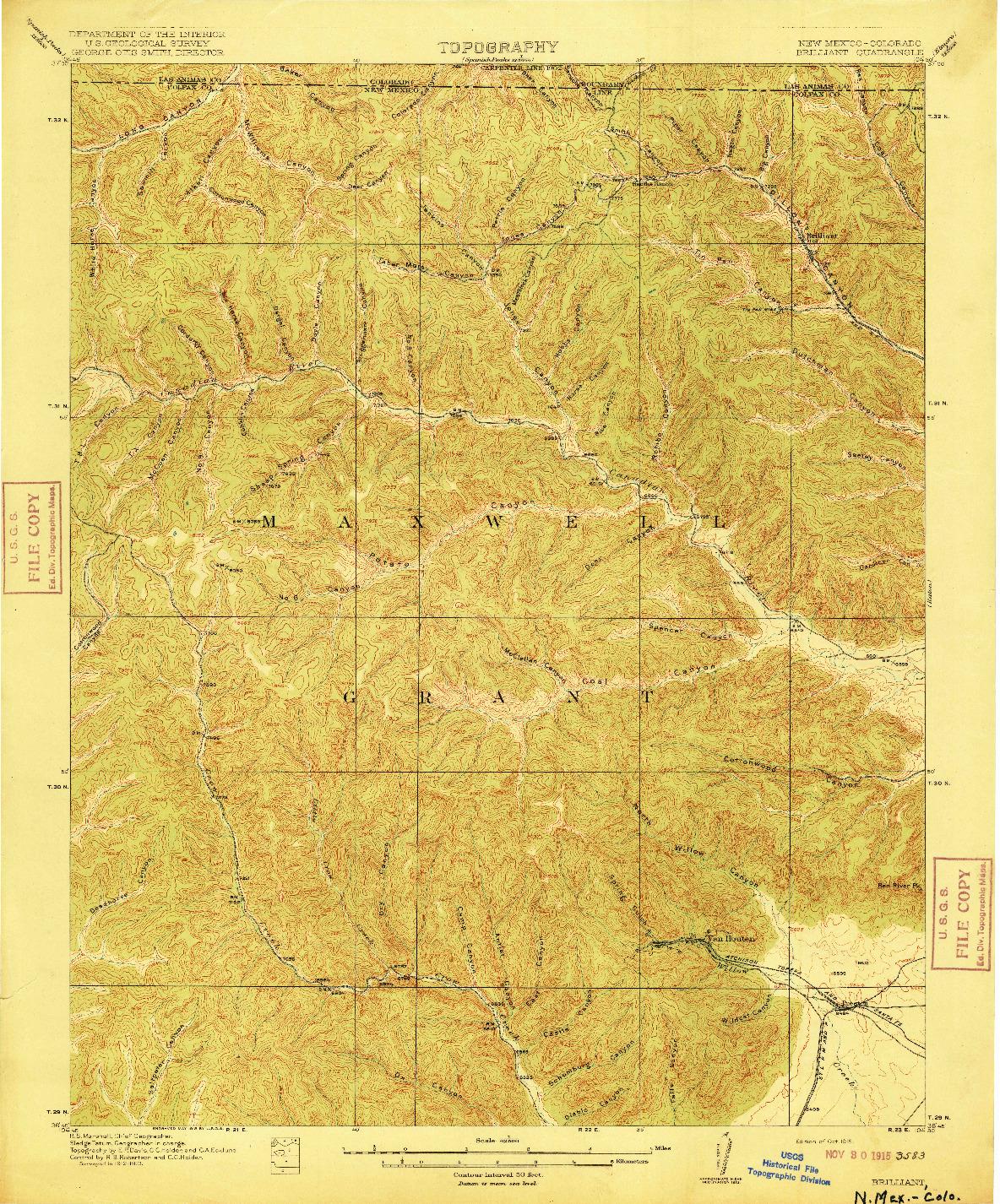 USGS 1:62500-SCALE QUADRANGLE FOR BRILLIANT, NM 1915