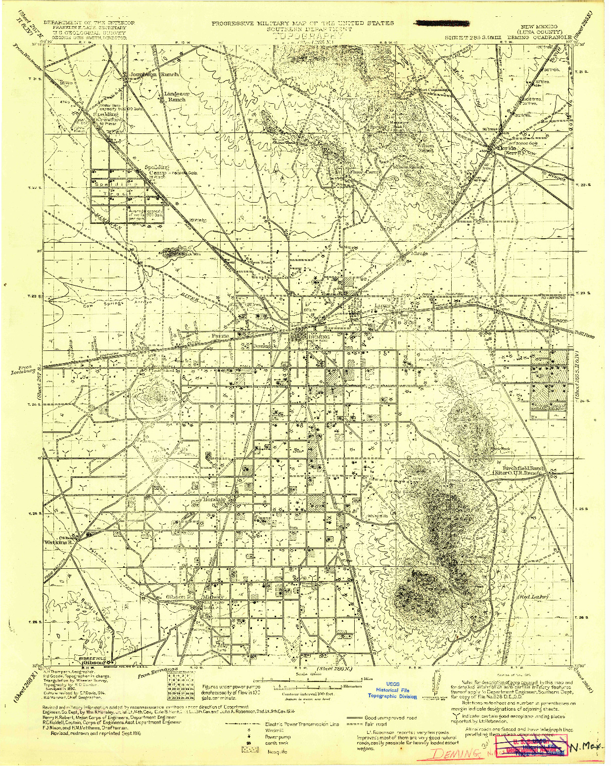 USGS 1:125000-SCALE QUADRANGLE FOR DEMING, NM 1915