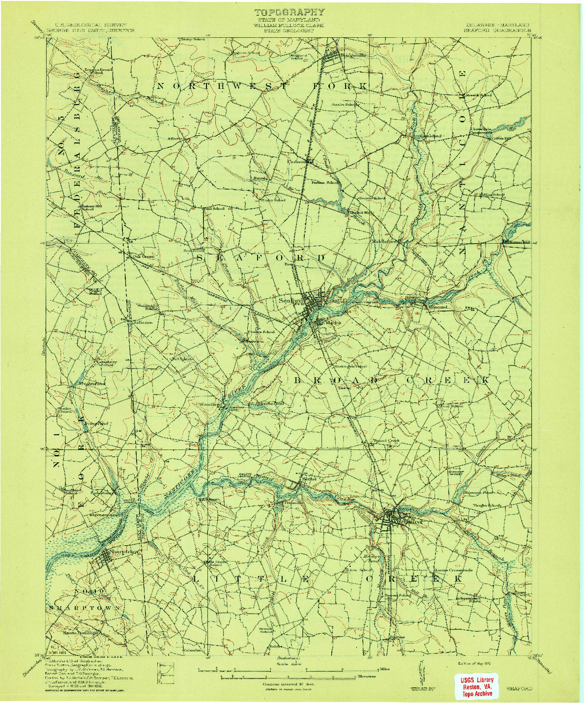 USGS 1:62500-SCALE QUADRANGLE FOR SEAFORD, DE 1915