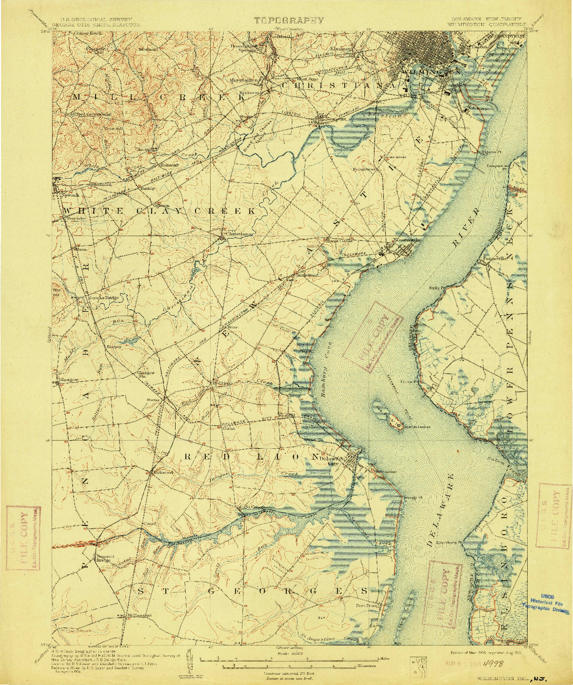 USGS 1:62500-SCALE QUADRANGLE FOR WILMINGTON, DE 1906
