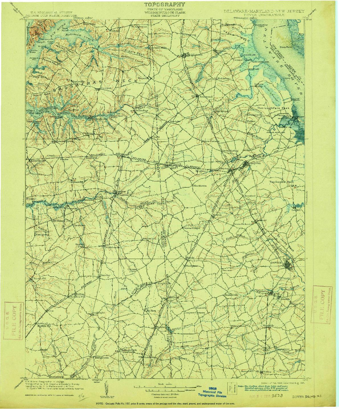 USGS 1:125000-SCALE QUADRANGLE FOR DOVER, DE 1906