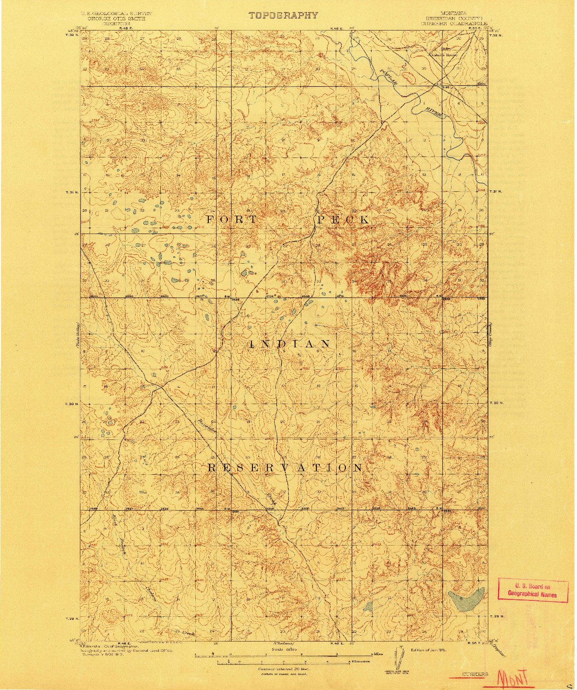 USGS 1:62500-SCALE QUADRANGLE FOR CUSKERS, MT 1915