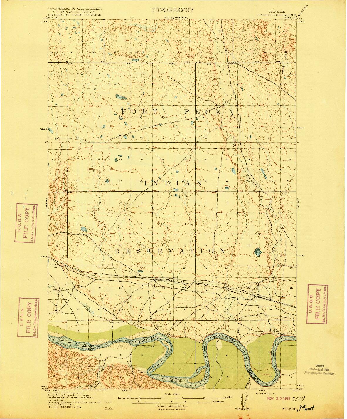USGS 1:62500-SCALE QUADRANGLE FOR FRAZER, MT 1915