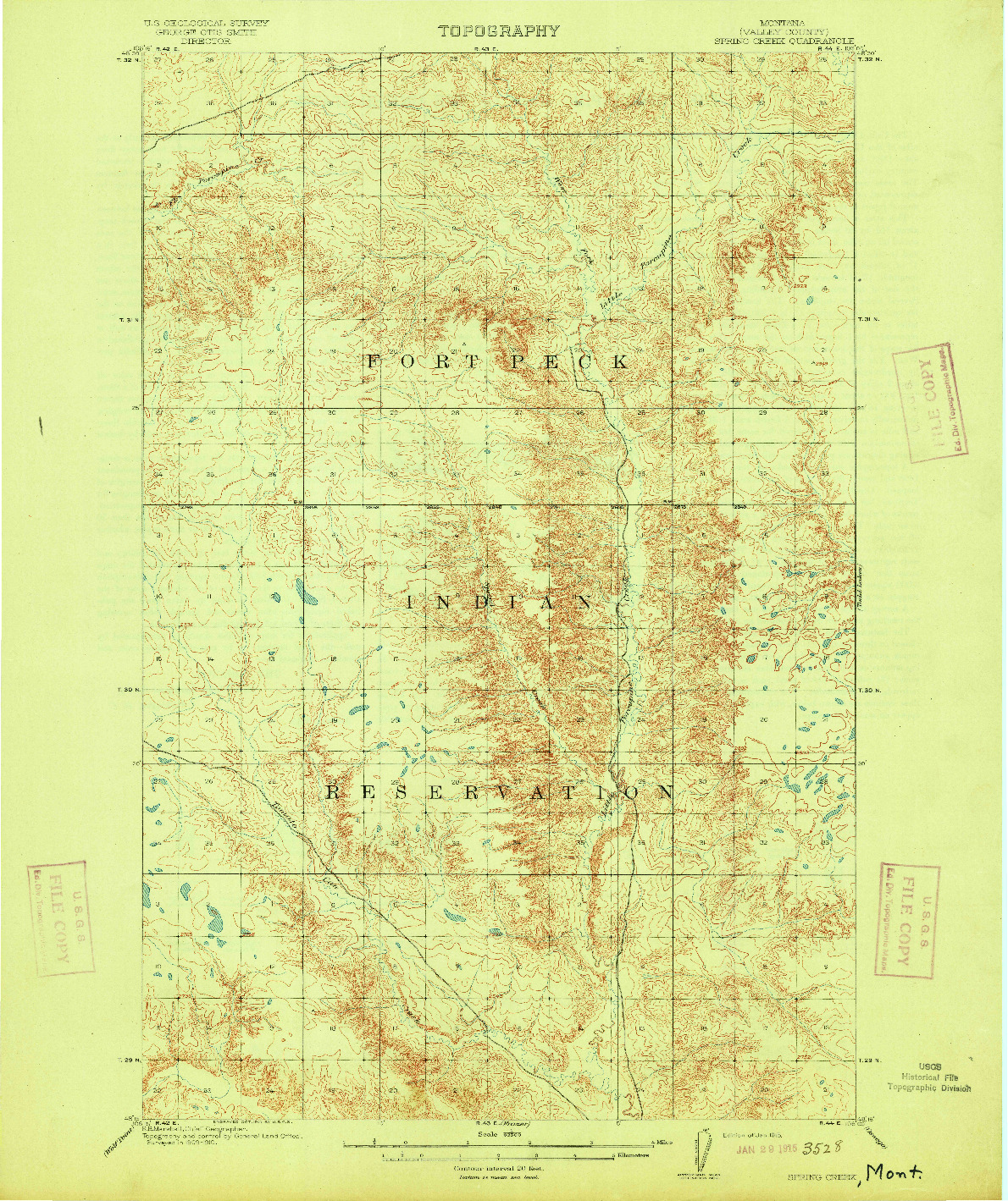 USGS 1:62500-SCALE QUADRANGLE FOR SPRING CREEK, MT 1915