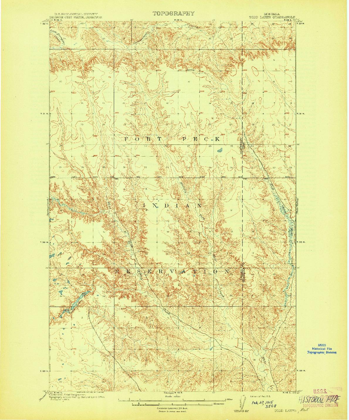 USGS 1:62500-SCALE QUADRANGLE FOR TODD LAKES, MT 1915