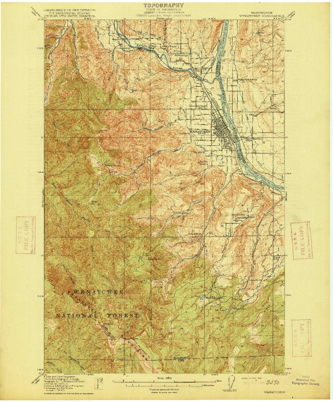 USGS 1:62500-SCALE QUADRANGLE FOR WENATCHEE, WA 1915