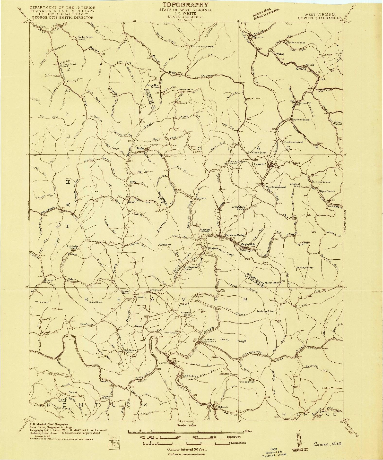 USGS 1:48000-SCALE QUADRANGLE FOR COWEN, WV 1915