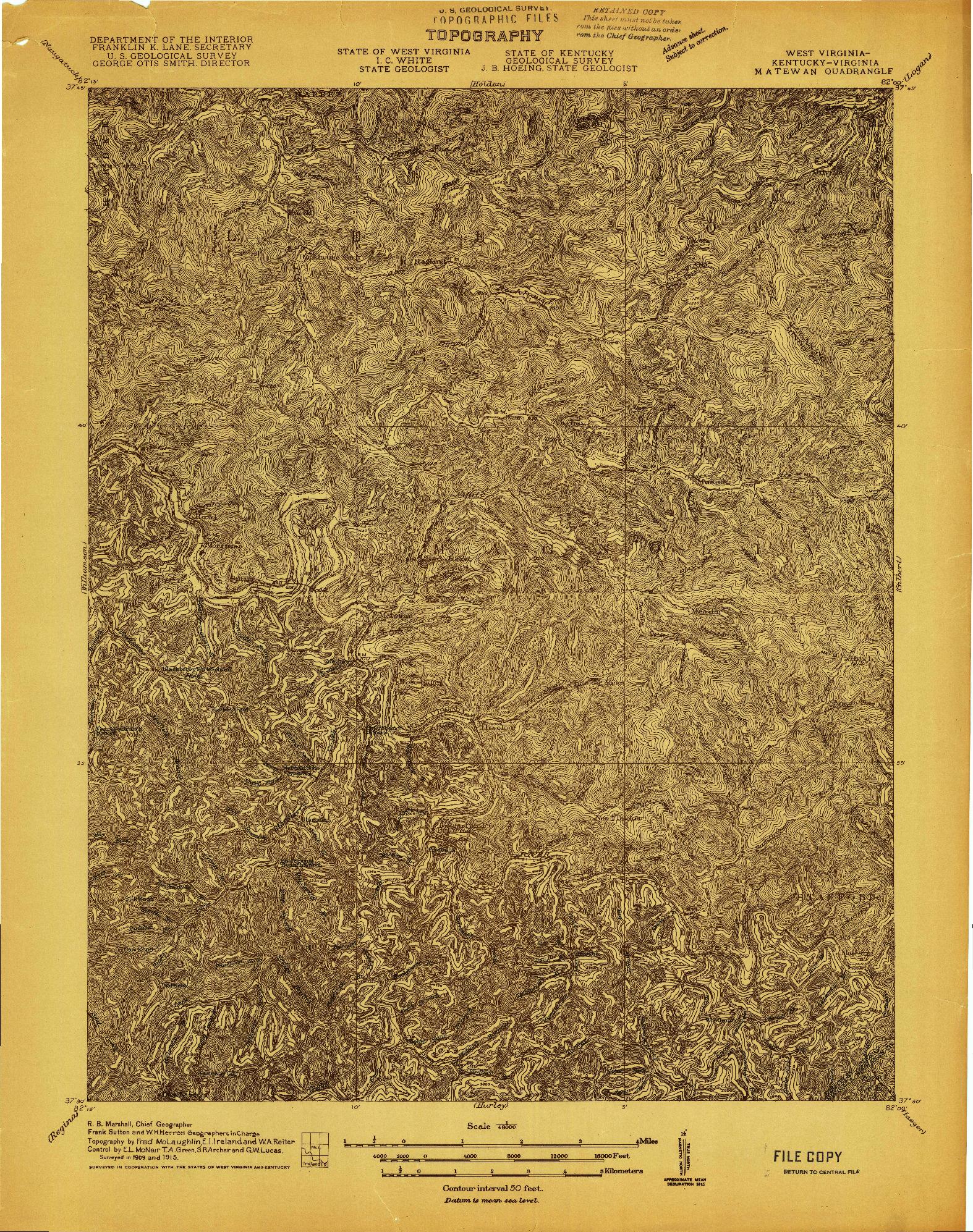 USGS 1:48000-SCALE QUADRANGLE FOR MATEWAN, WV 1915