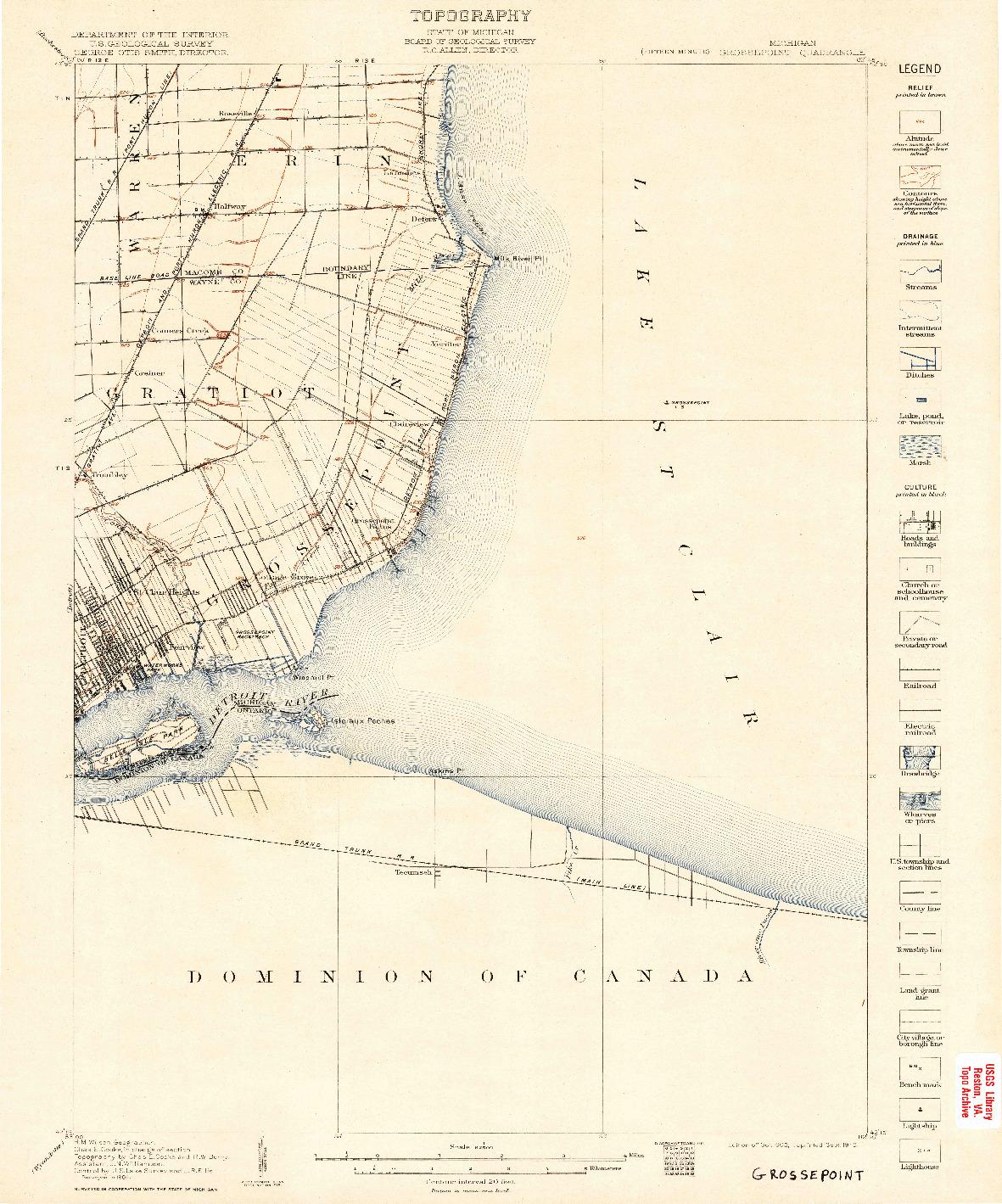 USGS 1:62500-SCALE QUADRANGLE FOR GROSSE POINTE, MI 1905