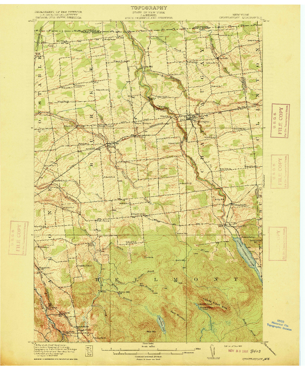 USGS 1:62500-SCALE QUADRANGLE FOR CHATEAUGAY, NY 1915