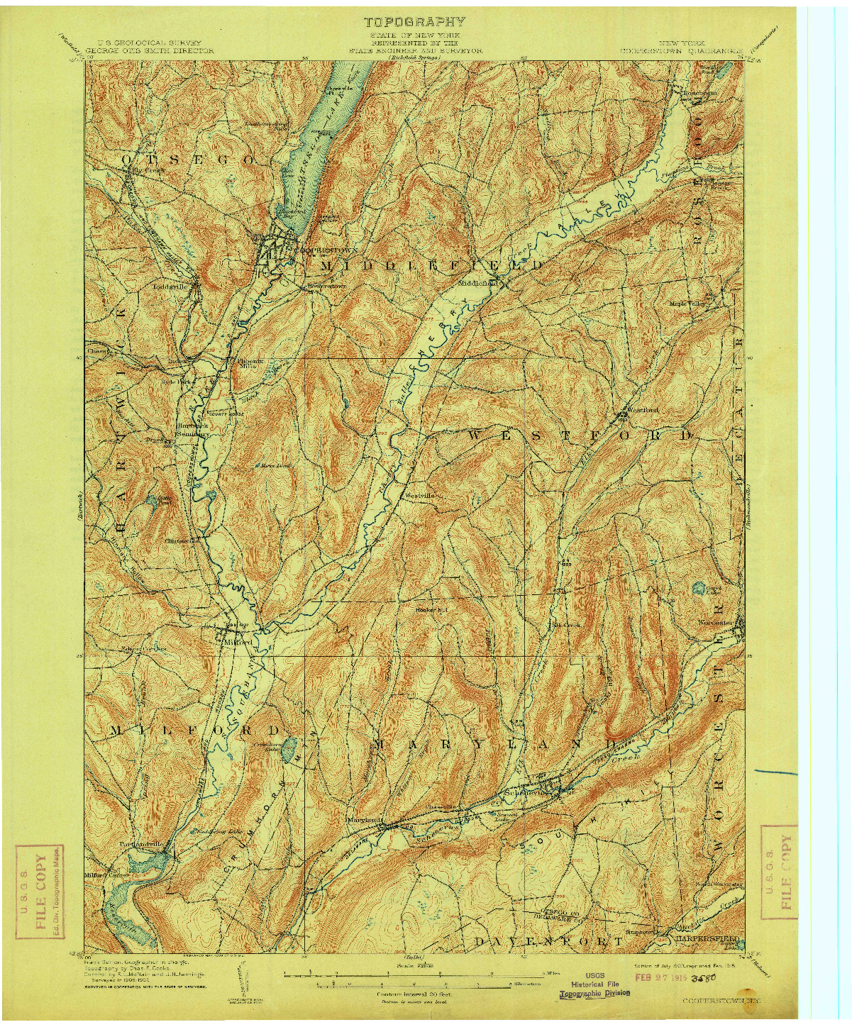 USGS 1:62500-SCALE QUADRANGLE FOR COOPERSTOWN, NY 1909
