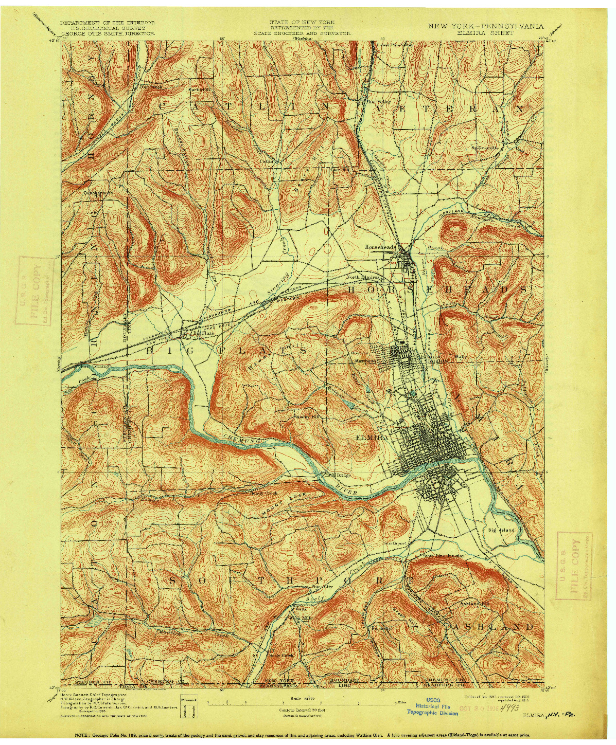 USGS 1:62500-SCALE QUADRANGLE FOR ELMIRA, NY 1895