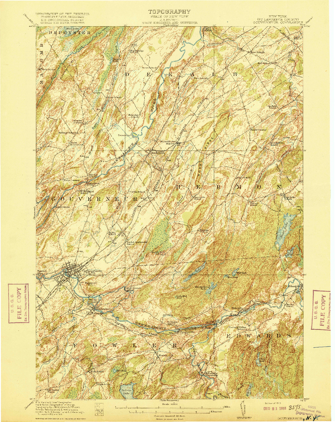 USGS 1:62500-SCALE QUADRANGLE FOR GOUVERNEUR, NY 1915