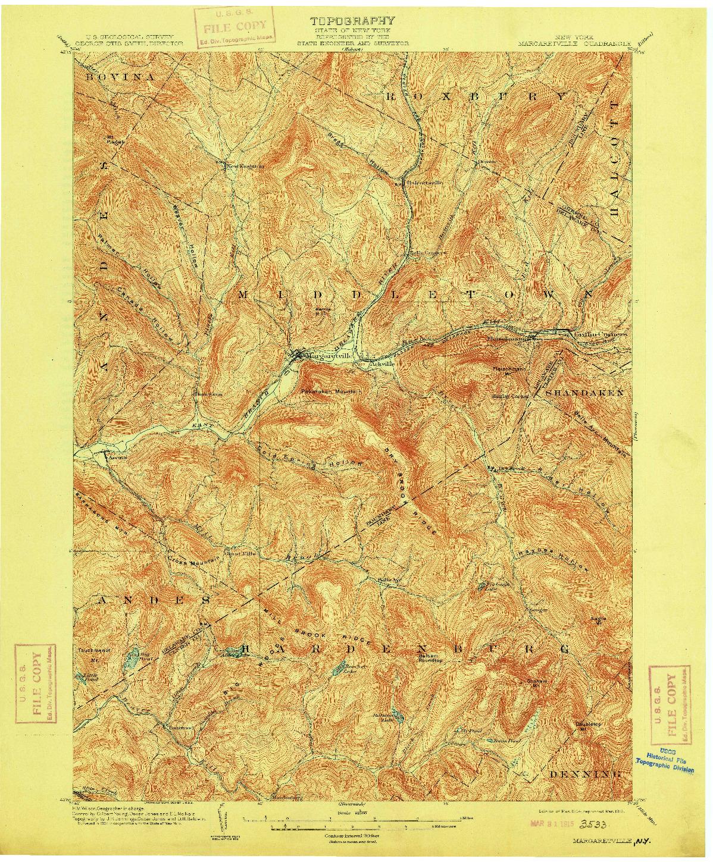 USGS 1:62500-SCALE QUADRANGLE FOR MARGARETVILLE, NY 1904