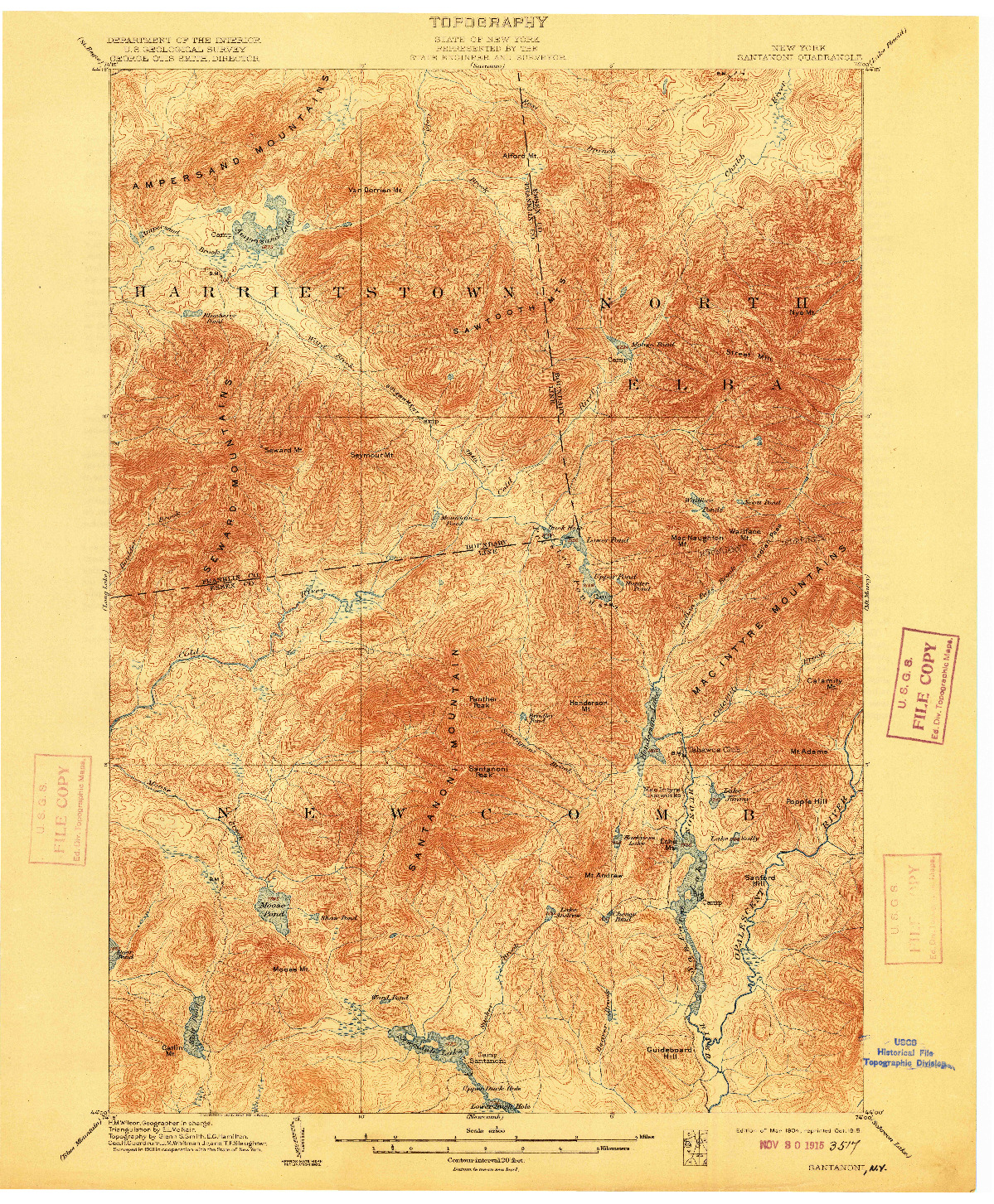 USGS 1:62500-SCALE QUADRANGLE FOR SANTANONI, NY 1904