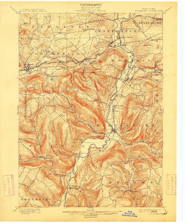 USGS 1:62500-SCALE QUADRANGLE FOR SCHOHARIE, NY 1900