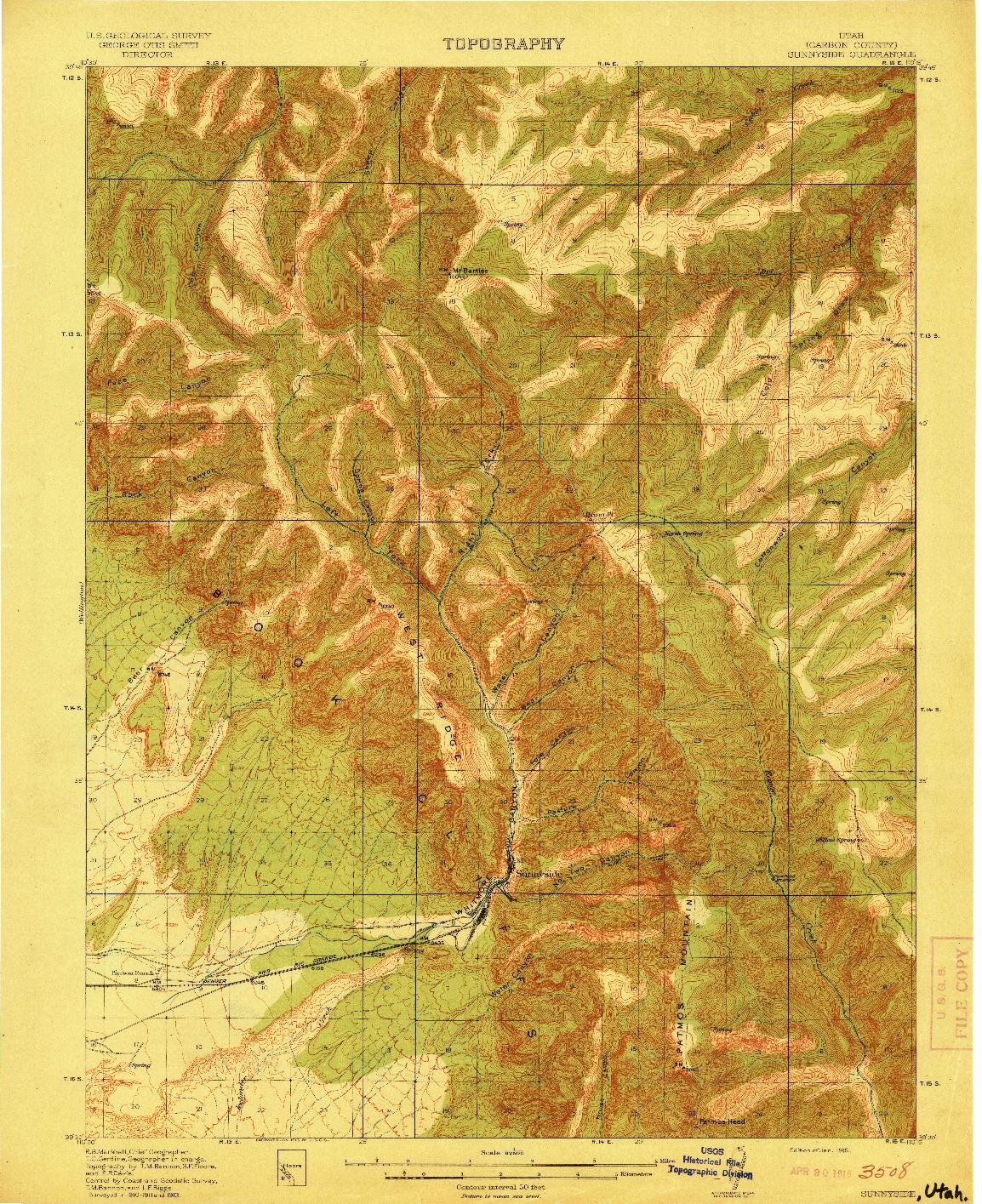 USGS 1:62500-SCALE QUADRANGLE FOR SUNNYSIDE, UT 1915