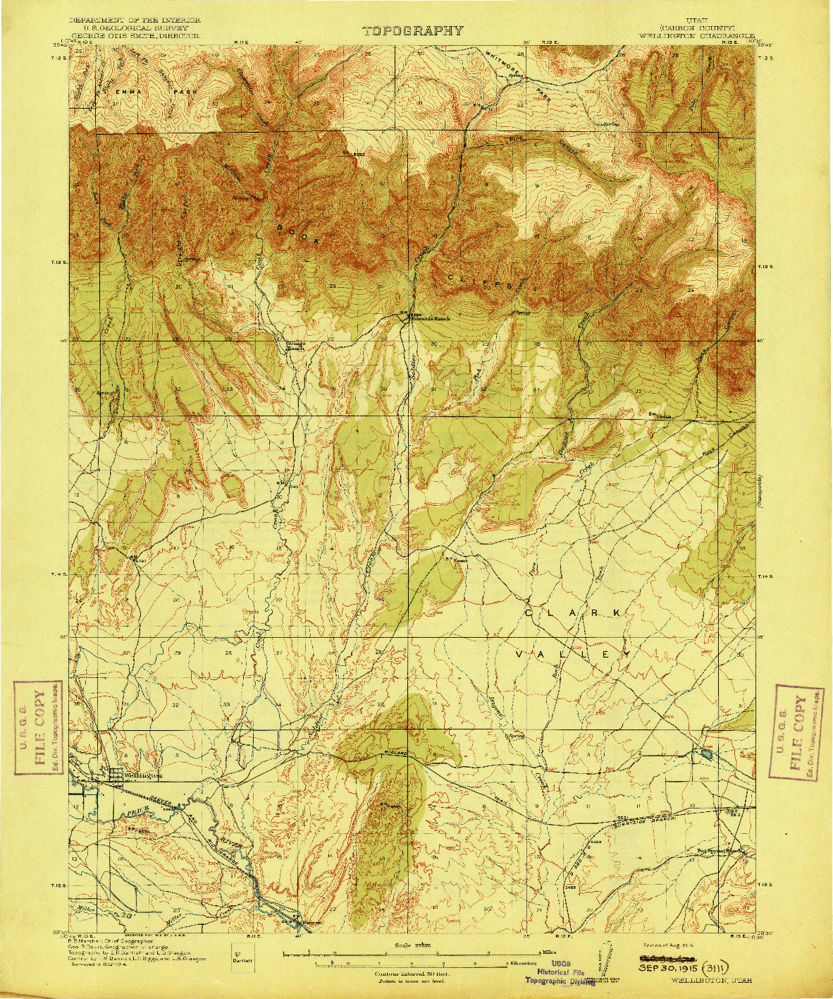 USGS 1:62500-SCALE QUADRANGLE FOR WELLINGTON, UT 1915