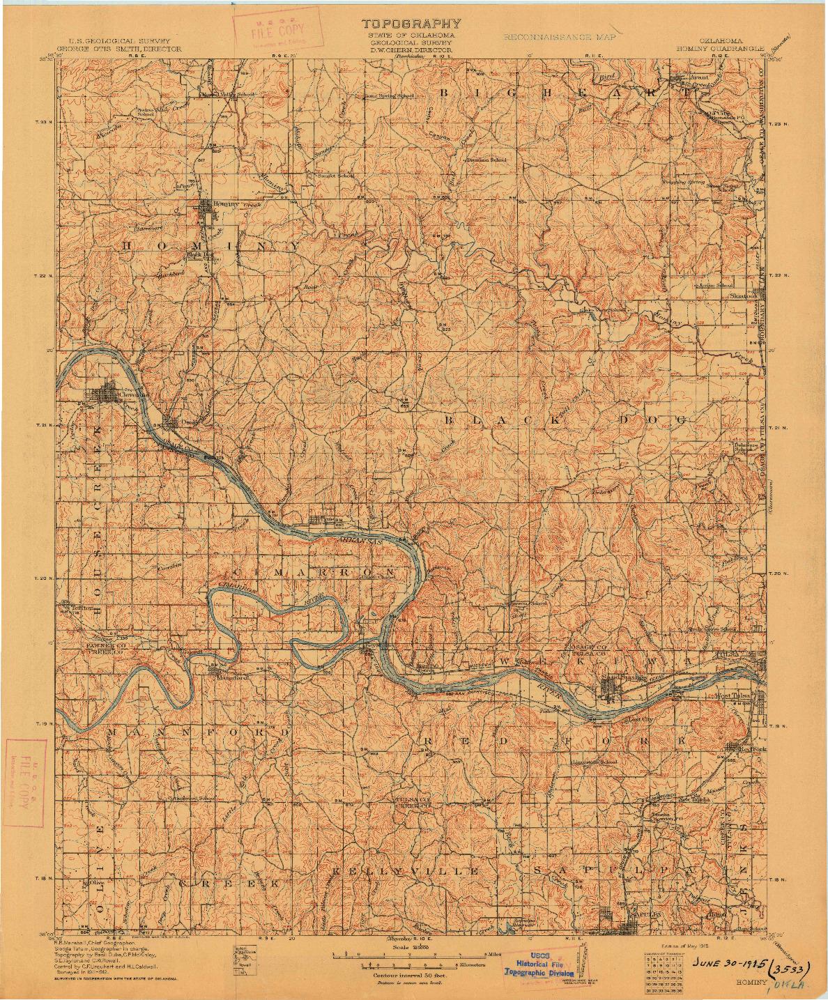 USGS 1:125000-SCALE QUADRANGLE FOR HOMINY, OK 1915