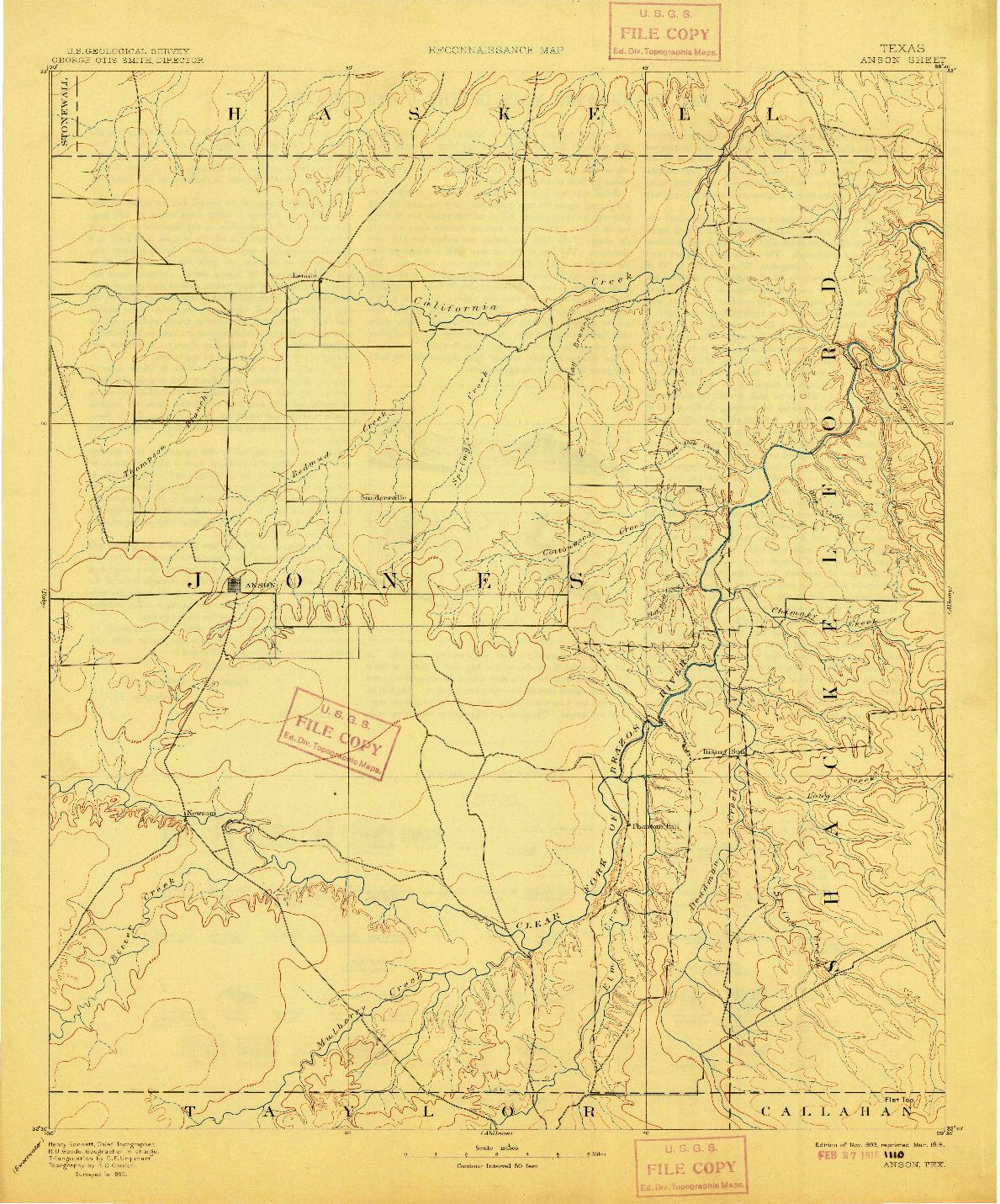 USGS 1:125000-SCALE QUADRANGLE FOR ANSON, TX 1893