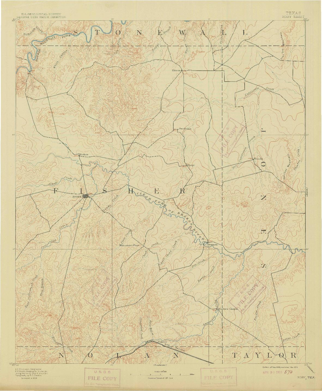 USGS 1:125000-SCALE QUADRANGLE FOR ROBY, TX 1893