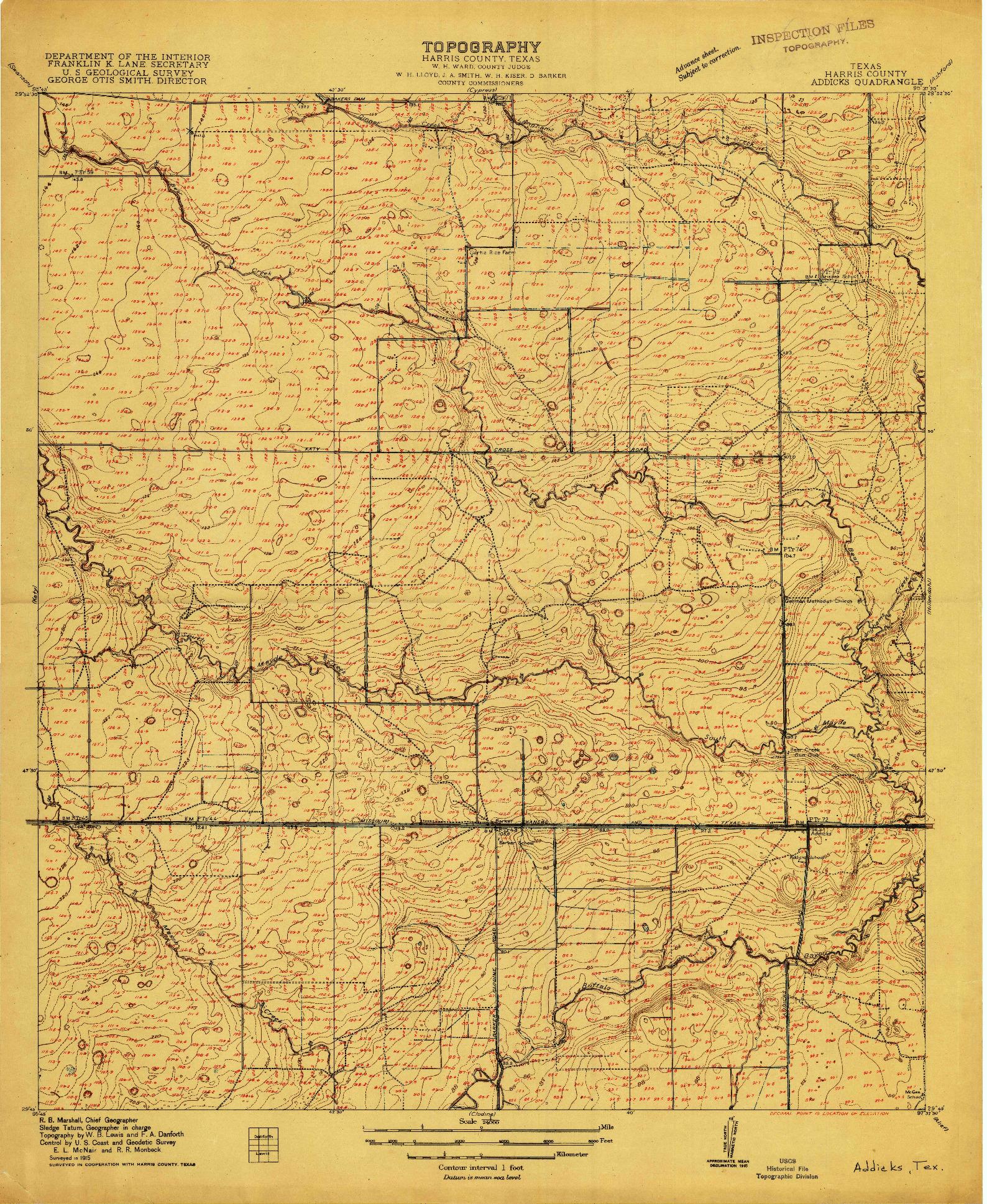 USGS 1:24000-SCALE QUADRANGLE FOR ADDICKS, TX 1915