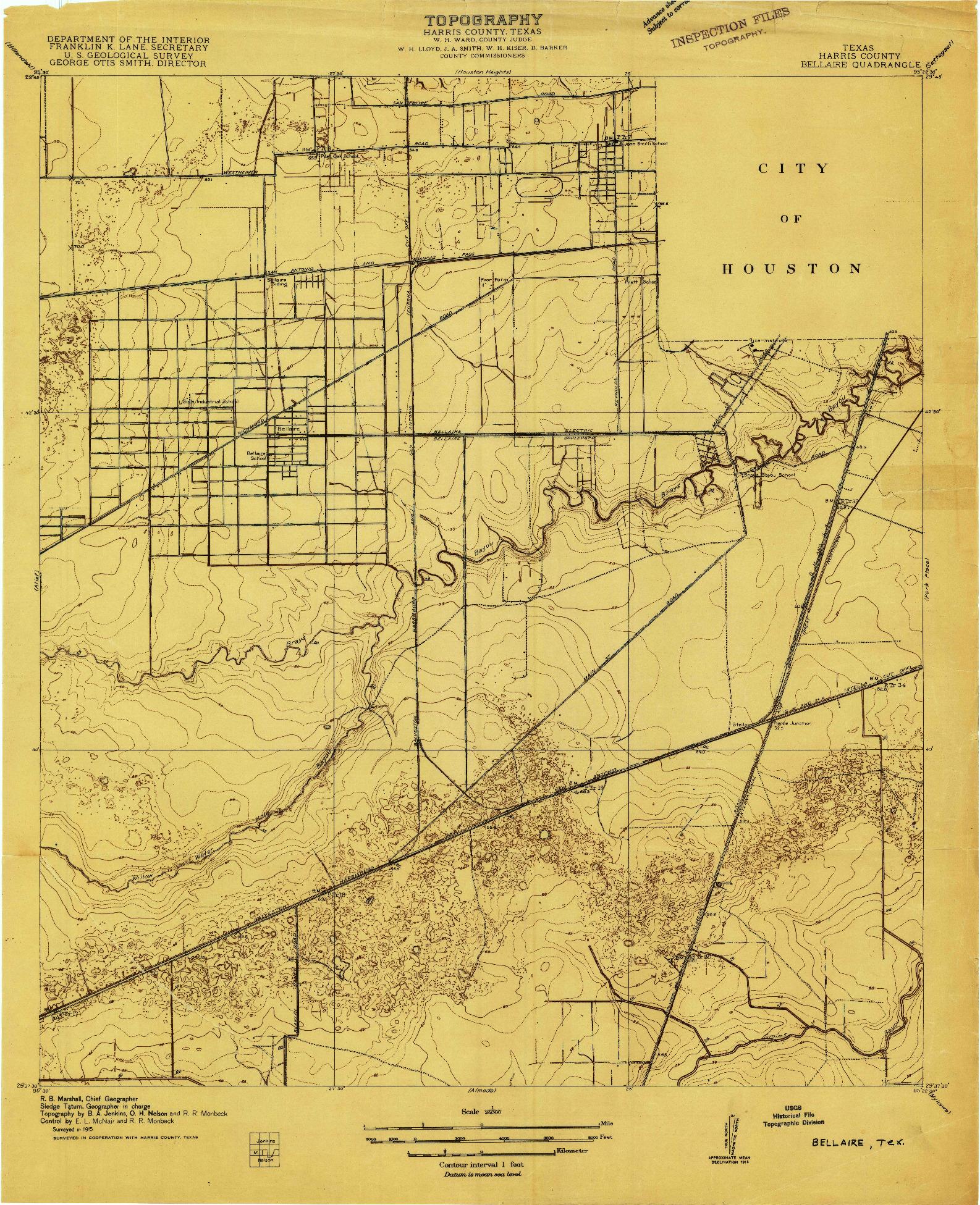 USGS 1:24000-SCALE QUADRANGLE FOR BELLAIRE, TX 1915
