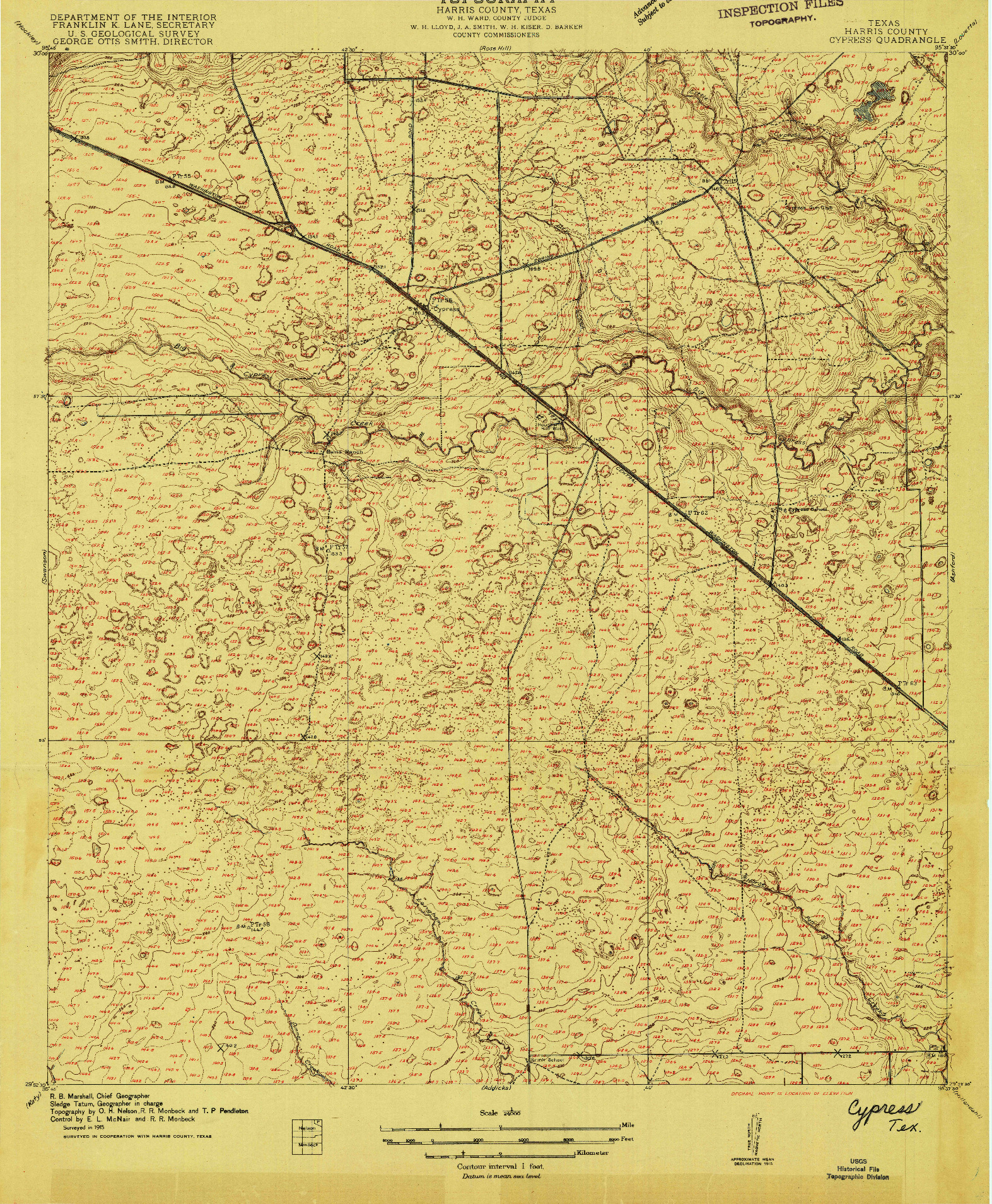 USGS 1:24000-SCALE QUADRANGLE FOR CYPRESS, TX 1915