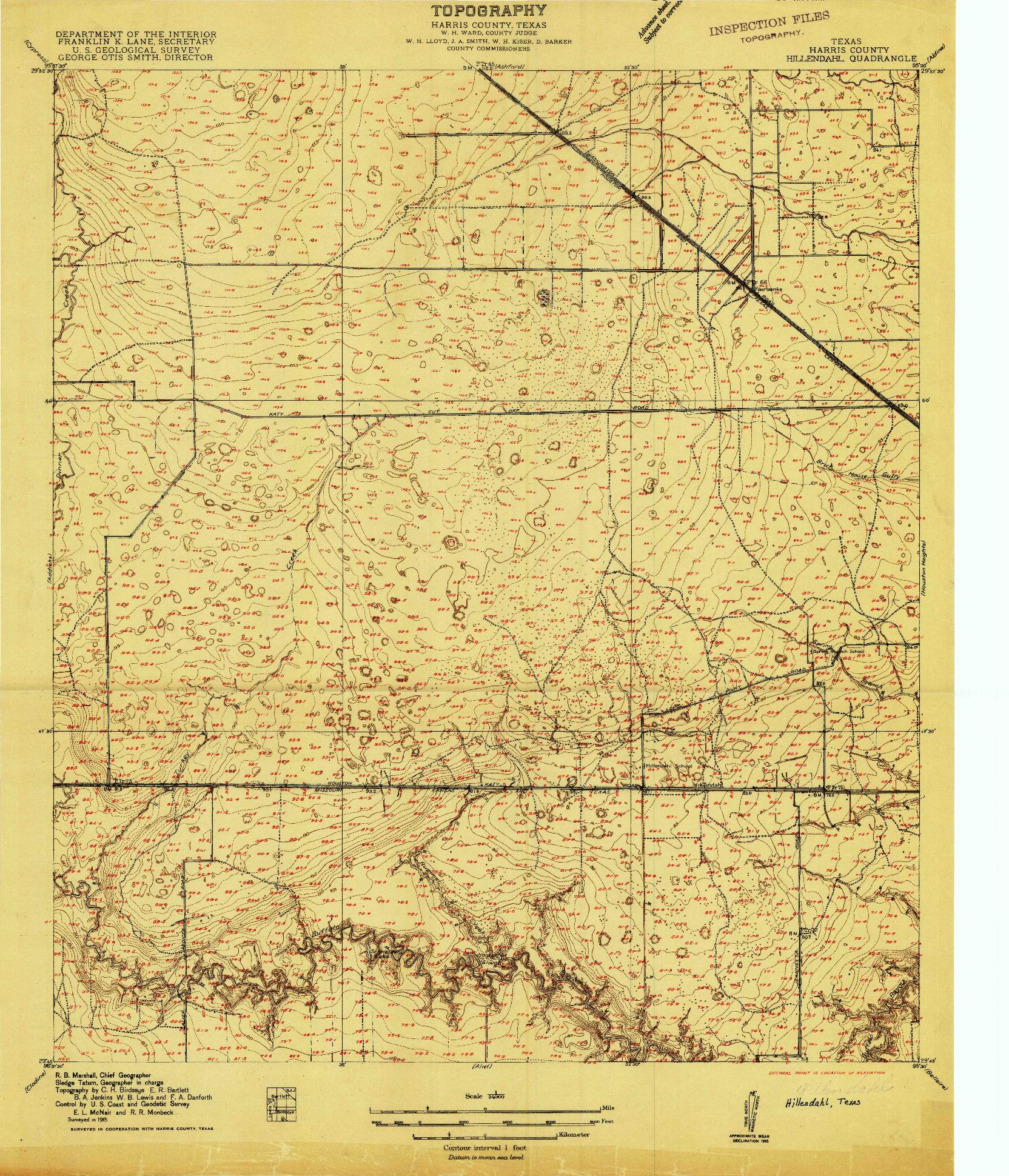 USGS 1:24000-SCALE QUADRANGLE FOR HILLENDAHL, TX 1915