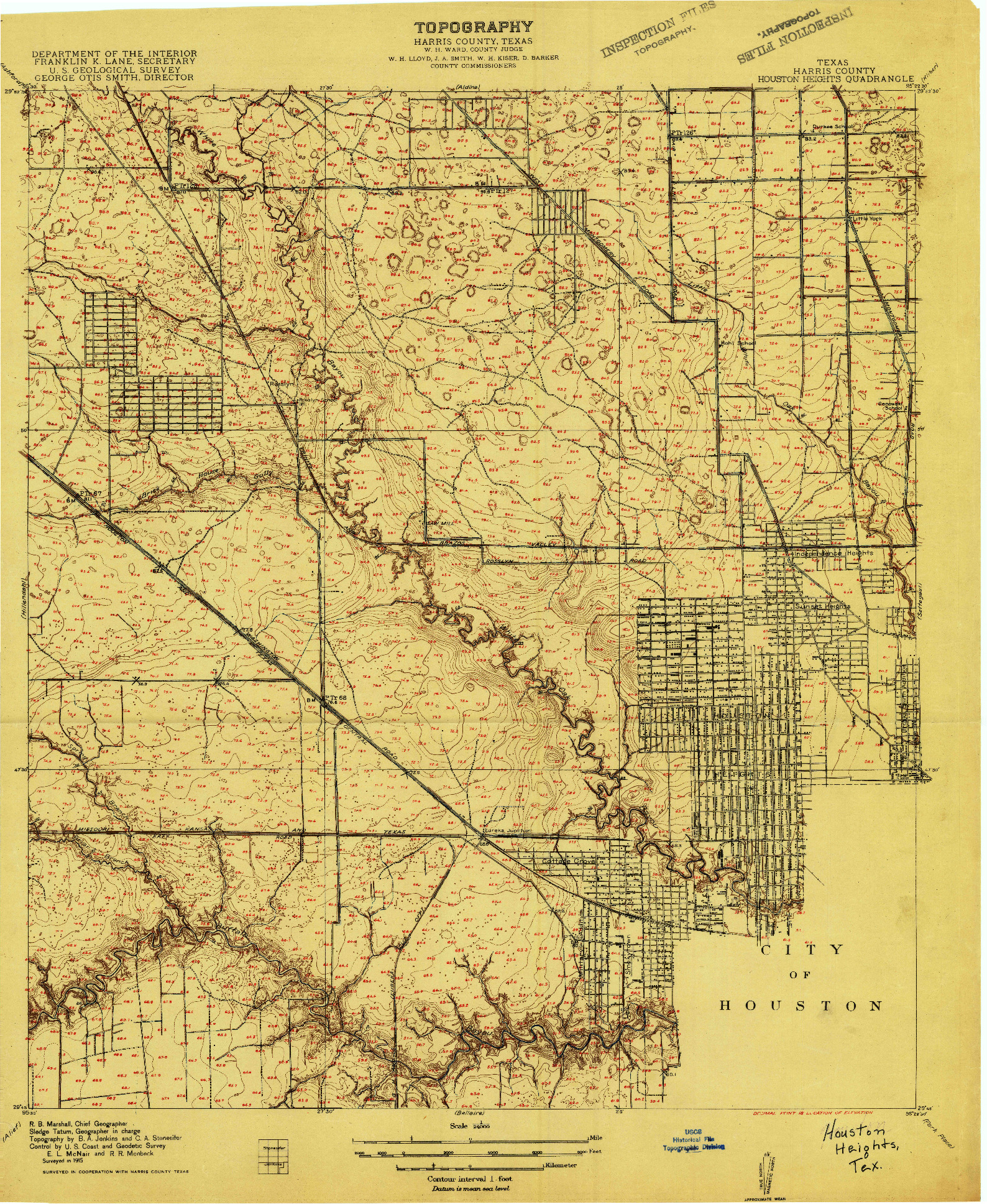 USGS 1:24000-SCALE QUADRANGLE FOR HOUSTON HEIGHTS, TX 1915