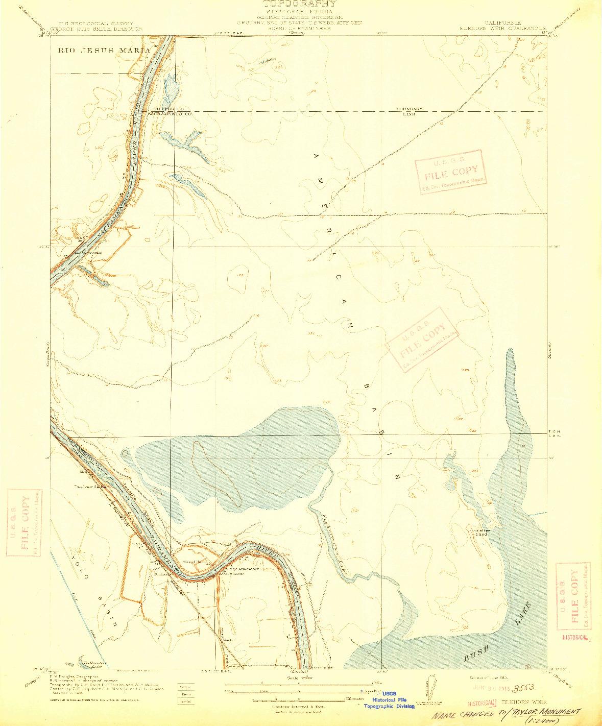USGS 1:31680-SCALE QUADRANGLE FOR ELKHORN WEIR, CA 1915